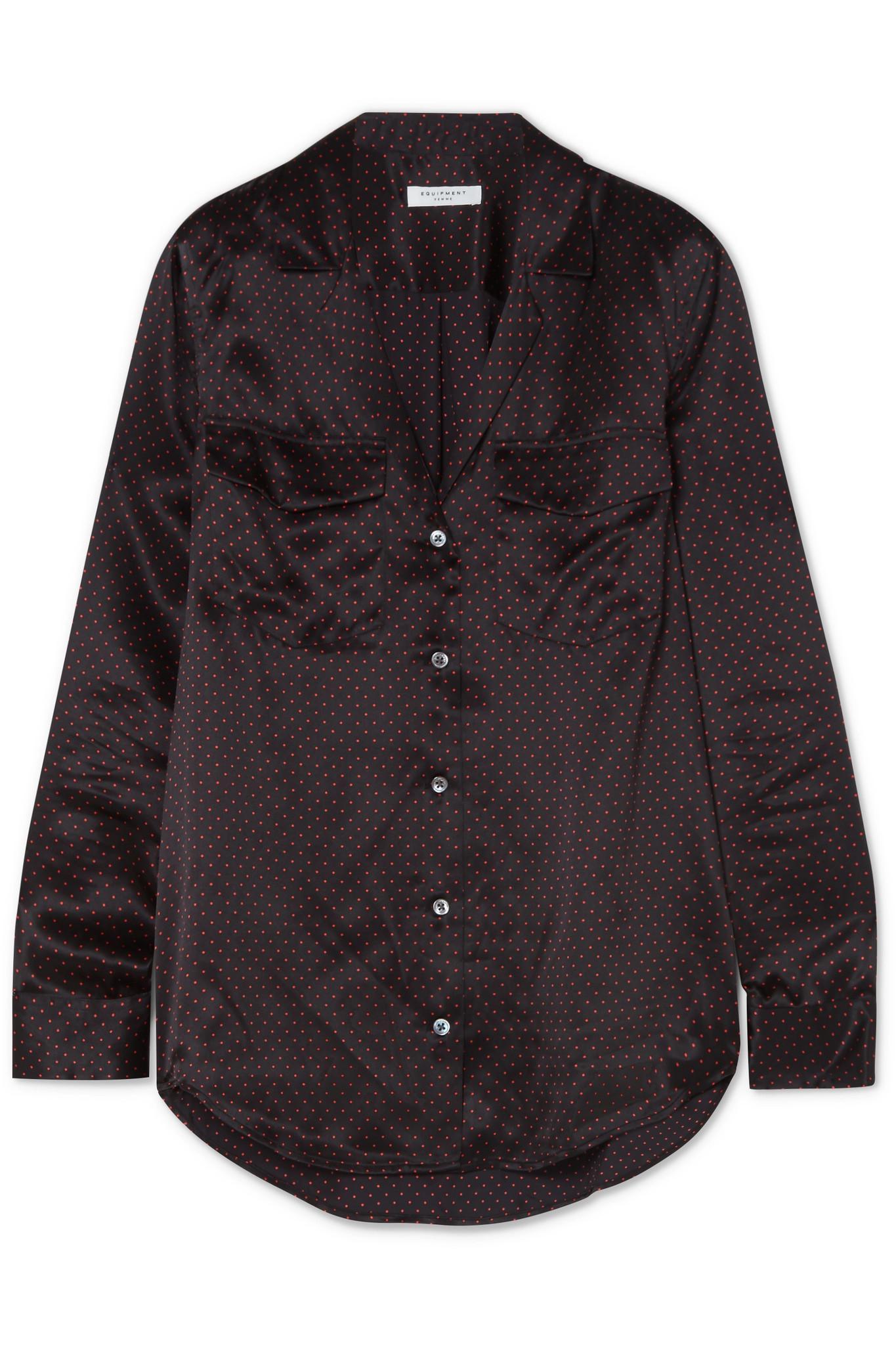 Equipment ansley polka dot washed silk satin shirt in for Equipment black silk shirt