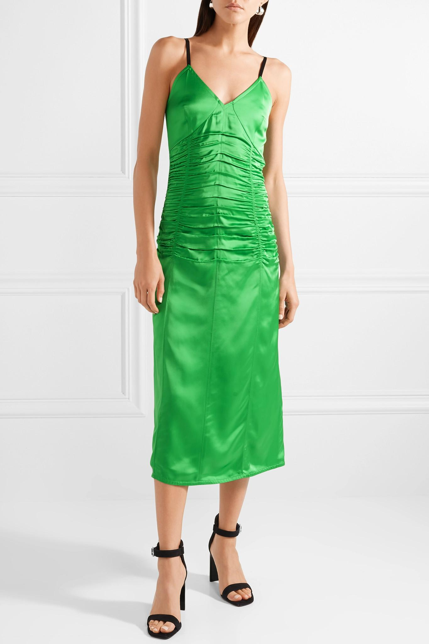 Ruched Stretch-satin Midi Dress - Green Helmut Lang