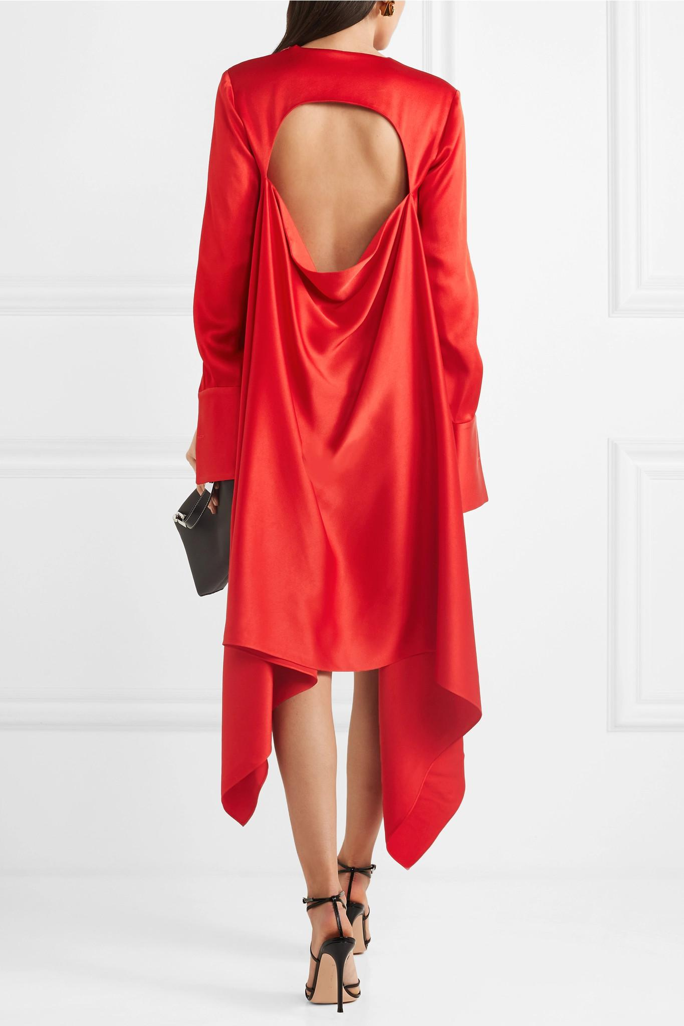 Open-back Draped Satin Midi Dress - Red Monse N5Sdpr