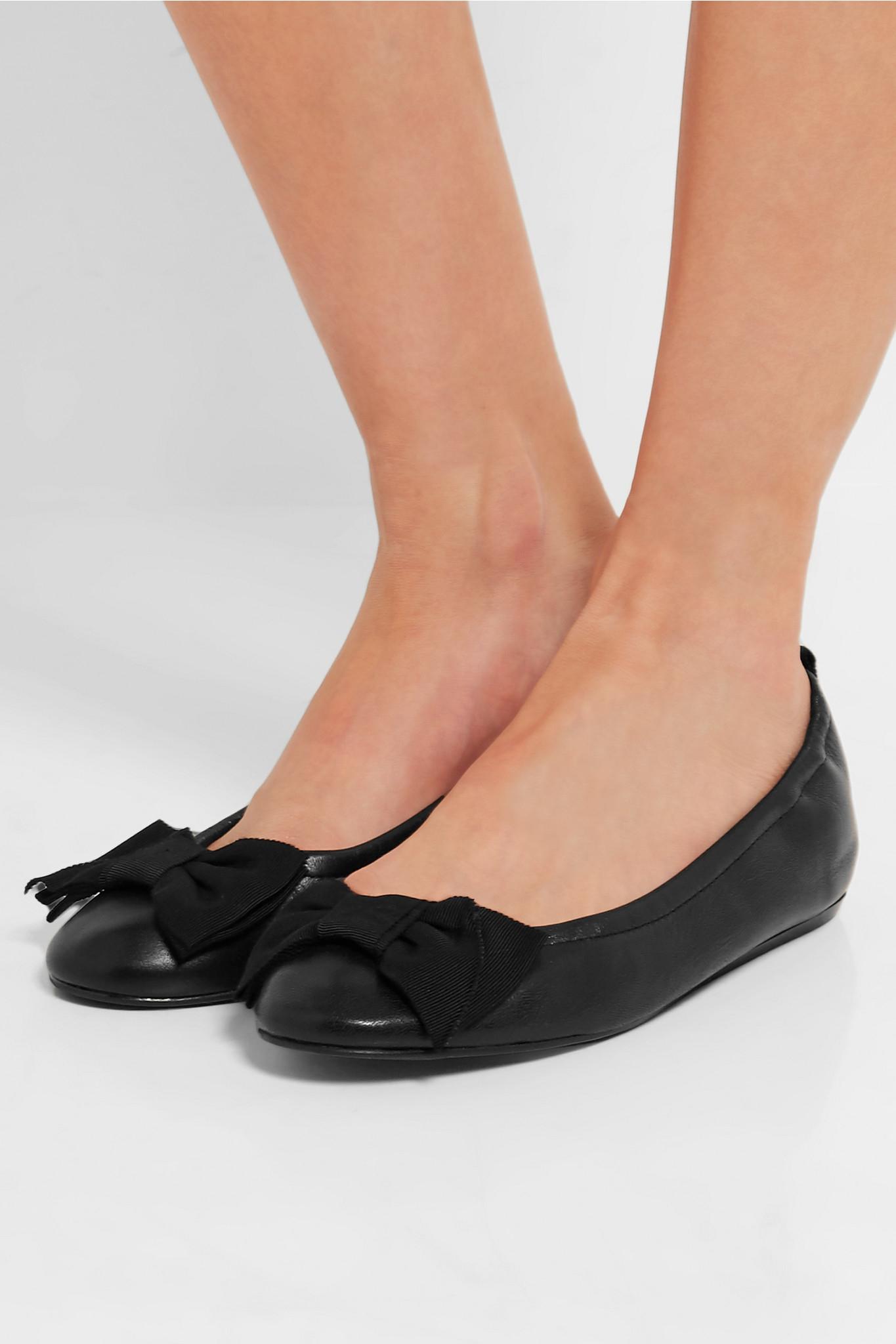 c57522f7cc6c Lyst - Lanvin Leather Ballet Flats in Black