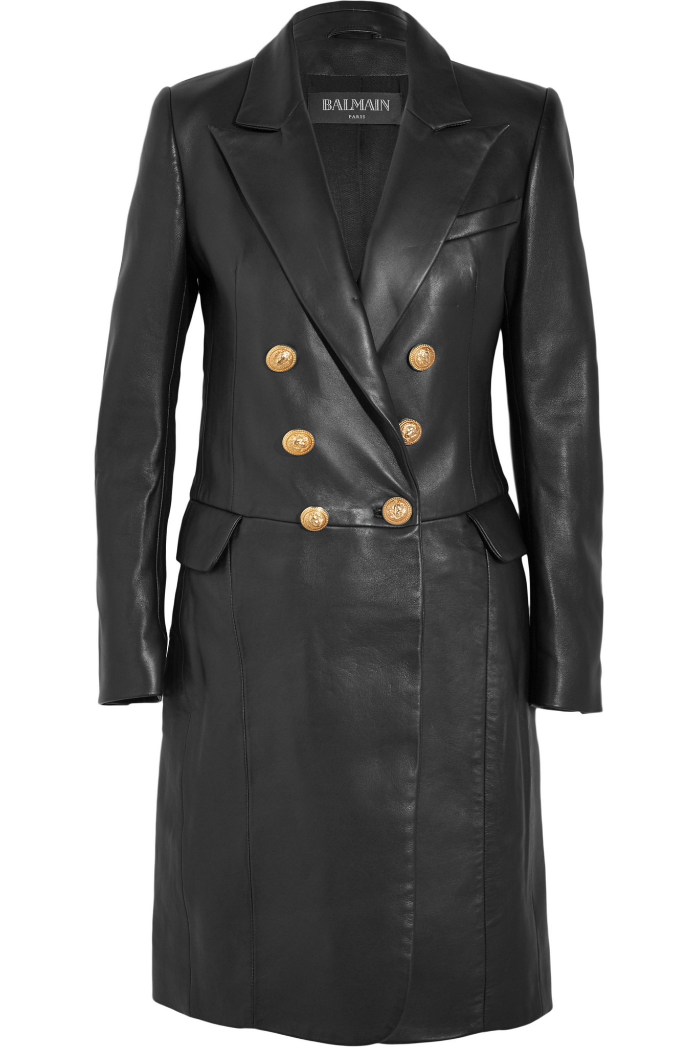 Lyst Balmain Double Breasted Leather Coat In Black