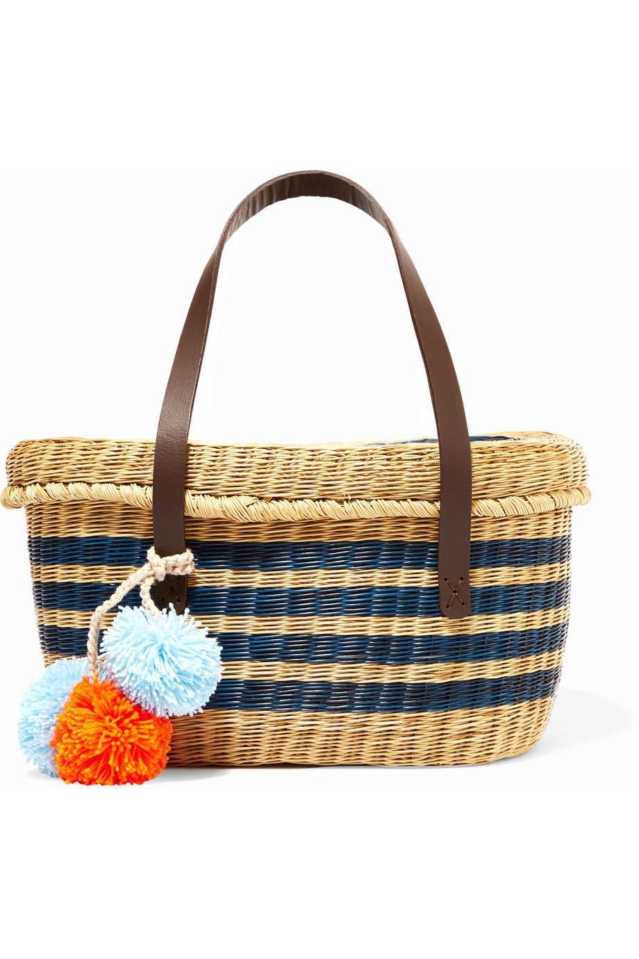 Serenella Pompom-embellished Leather-trimmed Woven Raffia Tote - Blue Sophie Anderson xHUBIl0aX