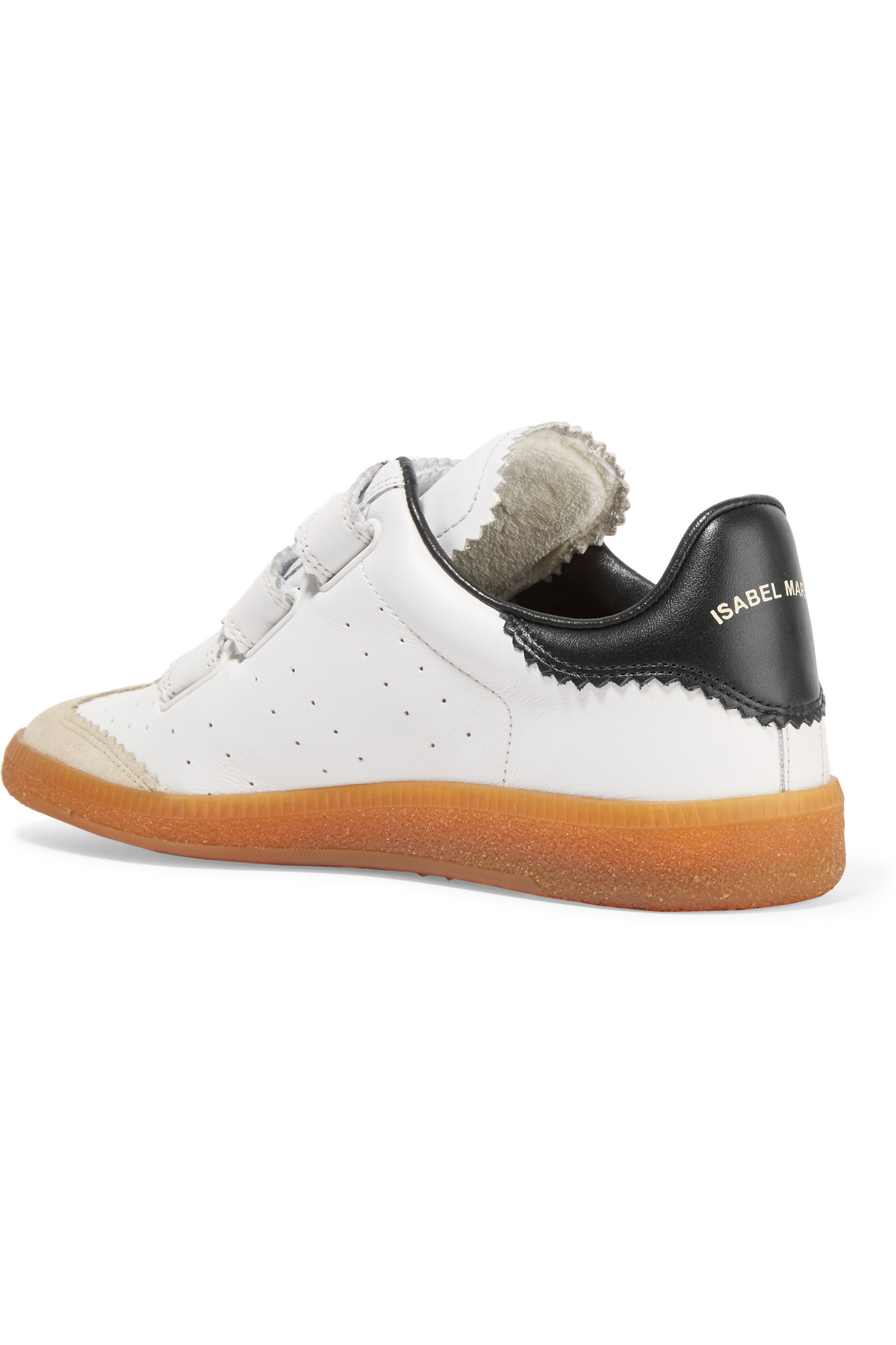 lyst isabel marant toile beth perforated leather sneakers in white. Black Bedroom Furniture Sets. Home Design Ideas
