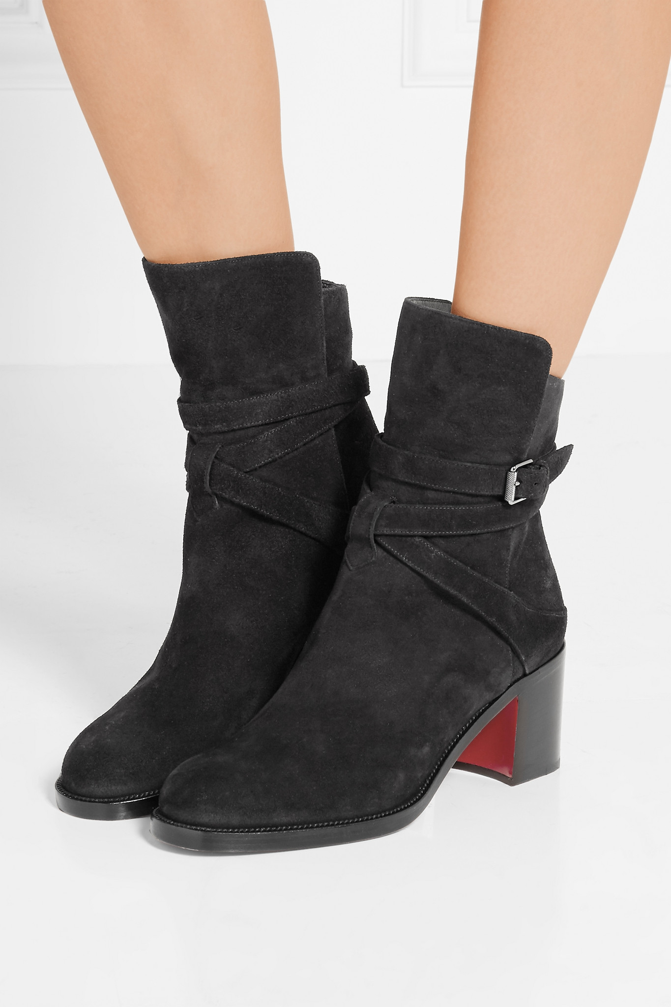 245a3c37d988 Christian Louboutin Karistrap 70 Suede Ankle Boots in Natural - Lyst