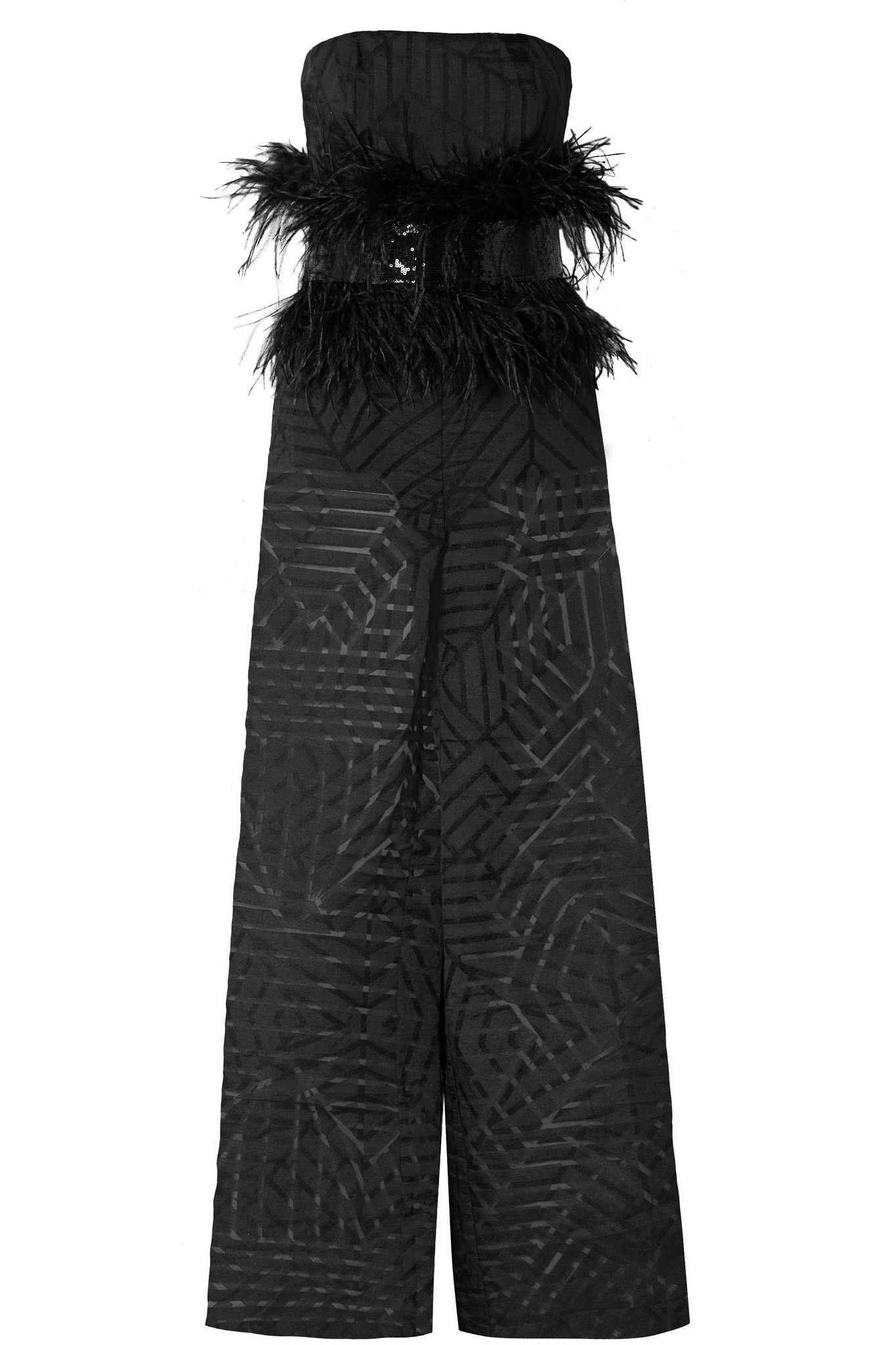 5eed5d83975c SemSem. Women s Black Feather And Sequin-embellished Devoré-organza Jumpsuit