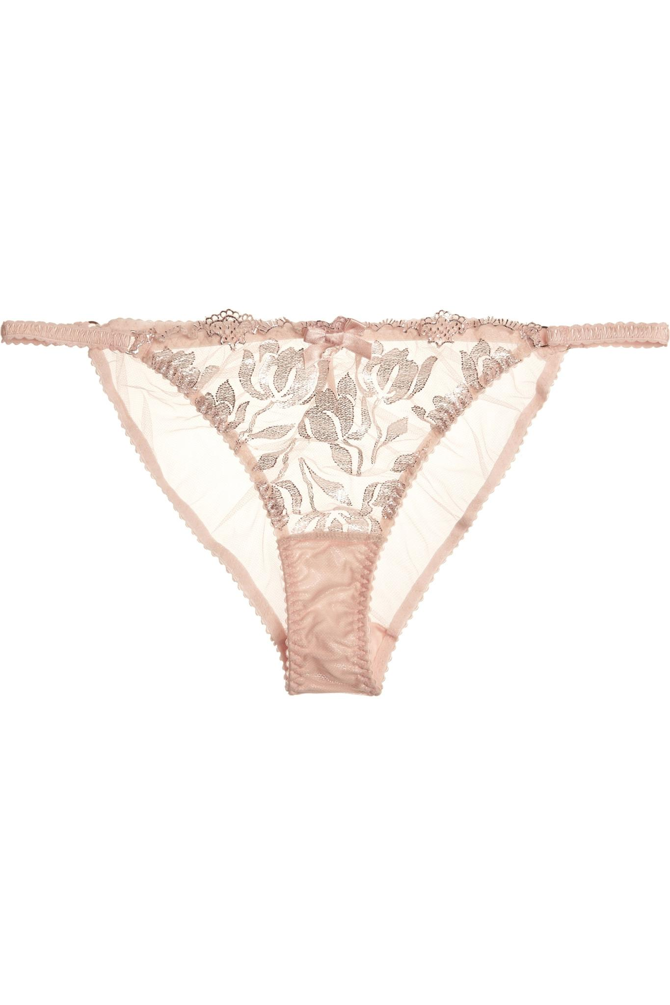 9b7b86d9a4 Lyst - Agent Provocateur Sparkle Embroidered Tulle Briefs in Pink