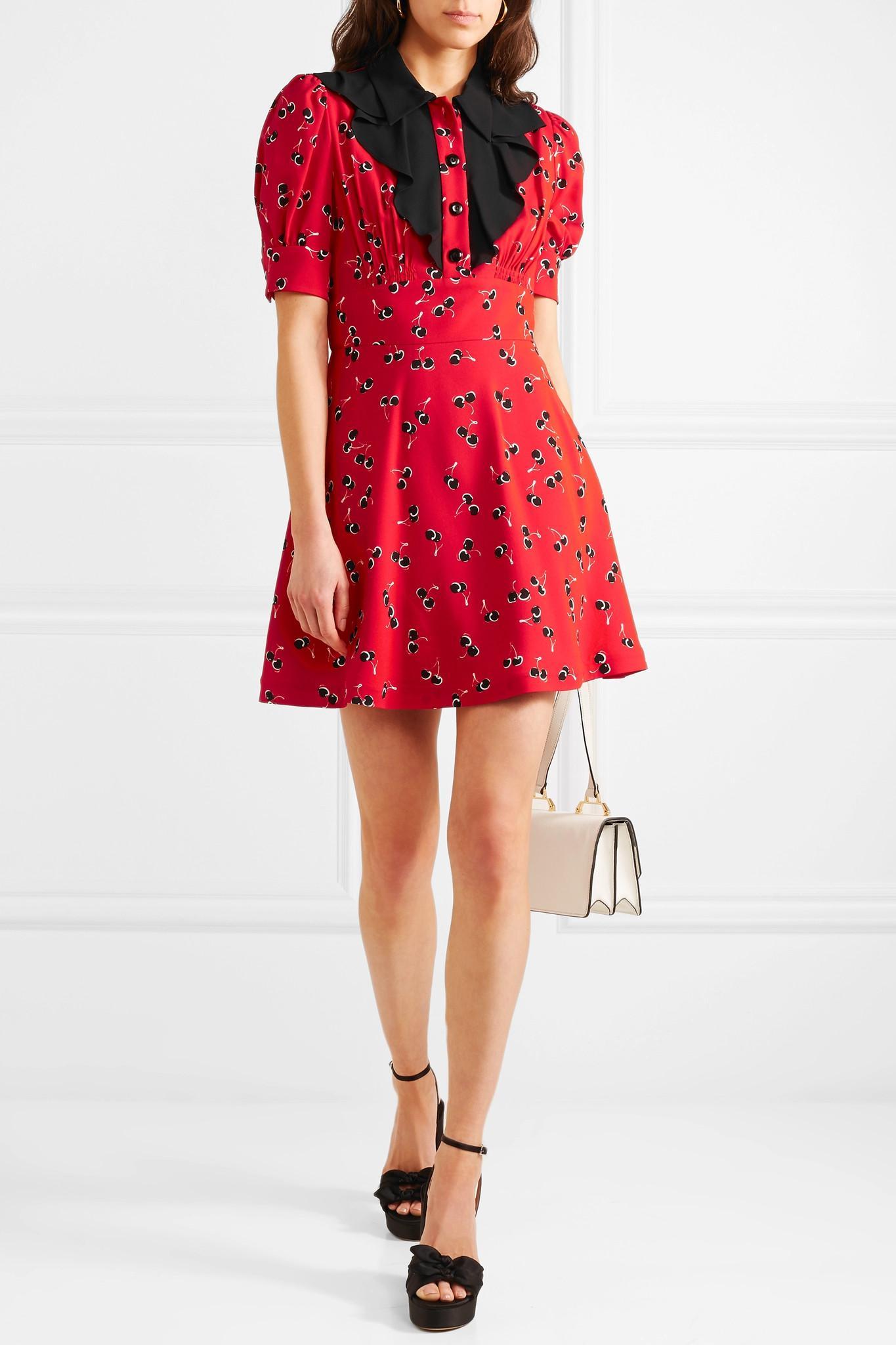 Miu Miu - Red Printed Crepe De Chine Mini Dress - Lyst. View fullscreen 233835335aaf1