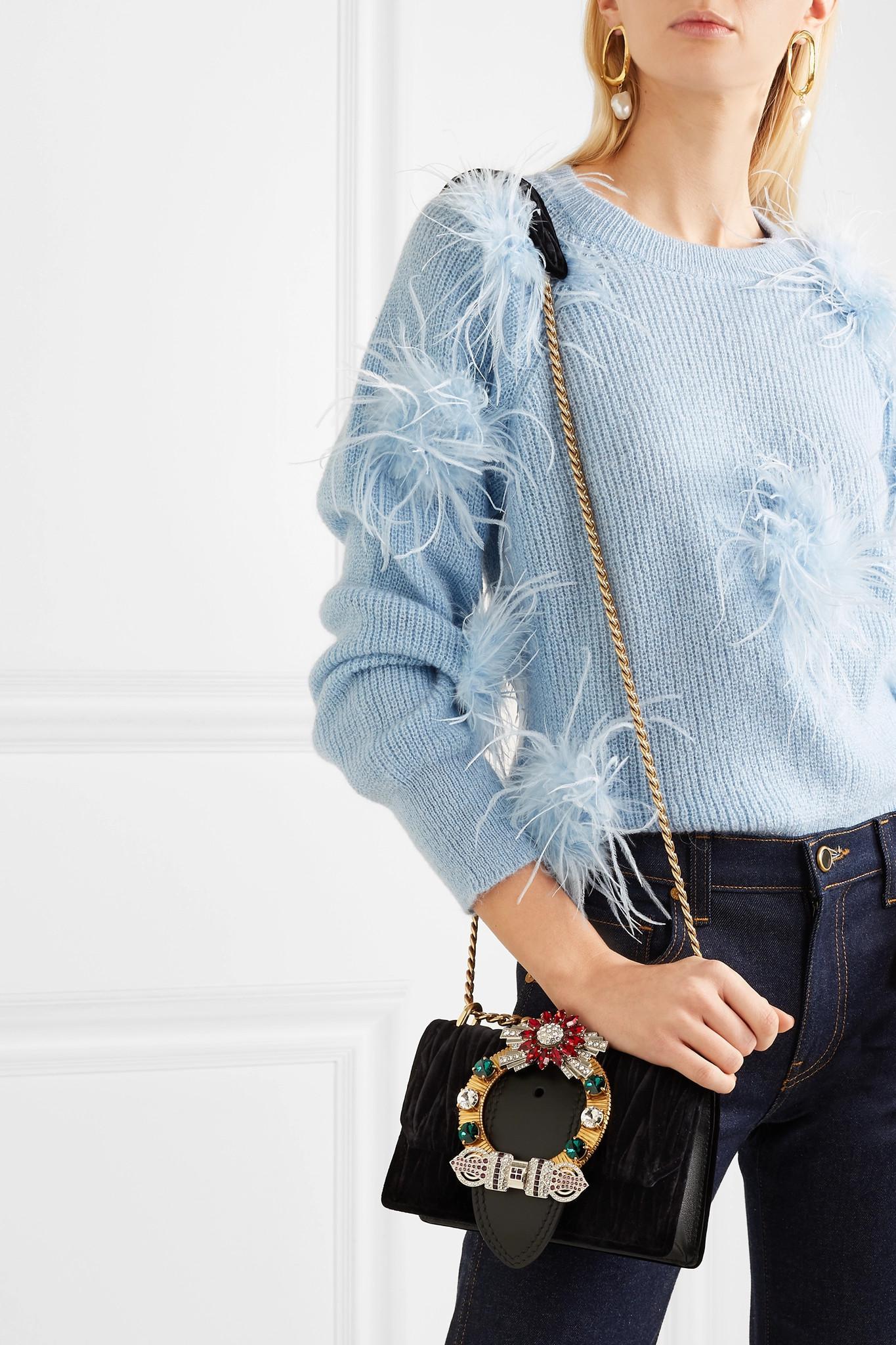 ... Miu Lady Crystal-embellished Leather And Matelassé Velvet Shoulder Bag  -. View fullscreen 7b67c942d5fdd