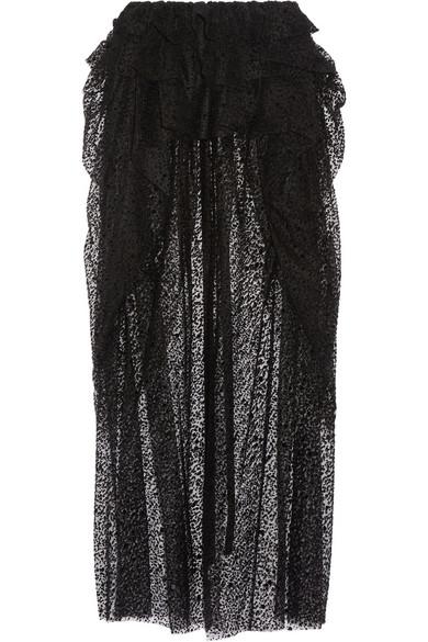 isa arfen layered flocked tulle midi skirt in black lyst