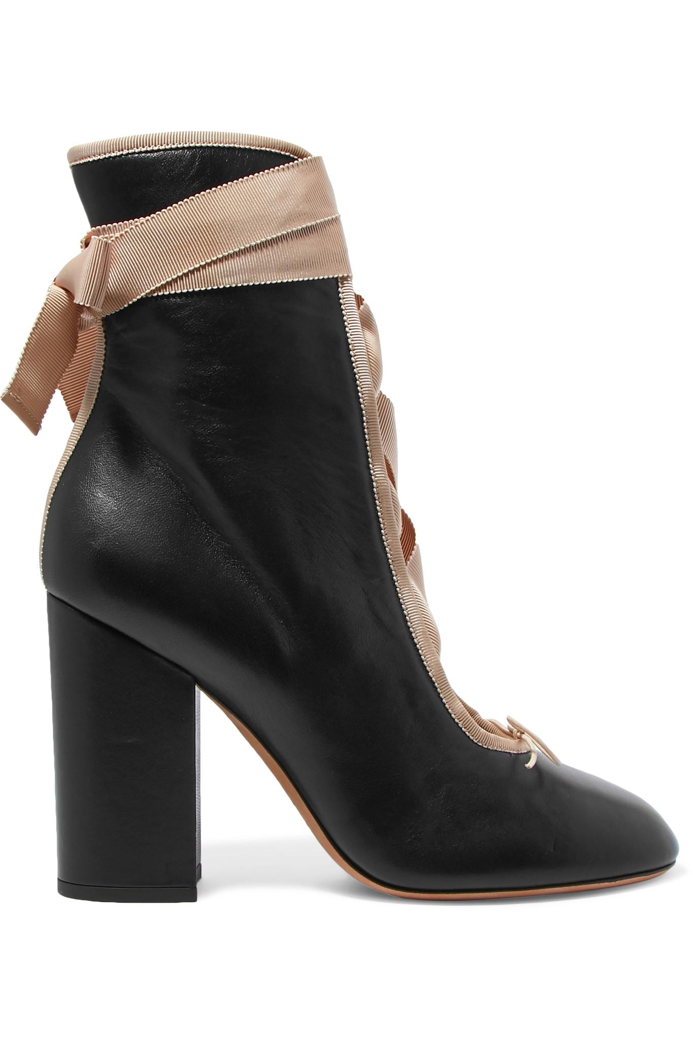 Valentino Lace Up Leather Ankle Boots In Black Lyst