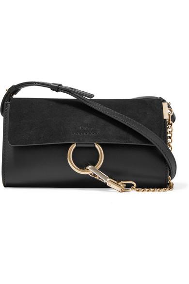 chlo faye mini leather and suede shoulder bag in black lyst. Black Bedroom Furniture Sets. Home Design Ideas