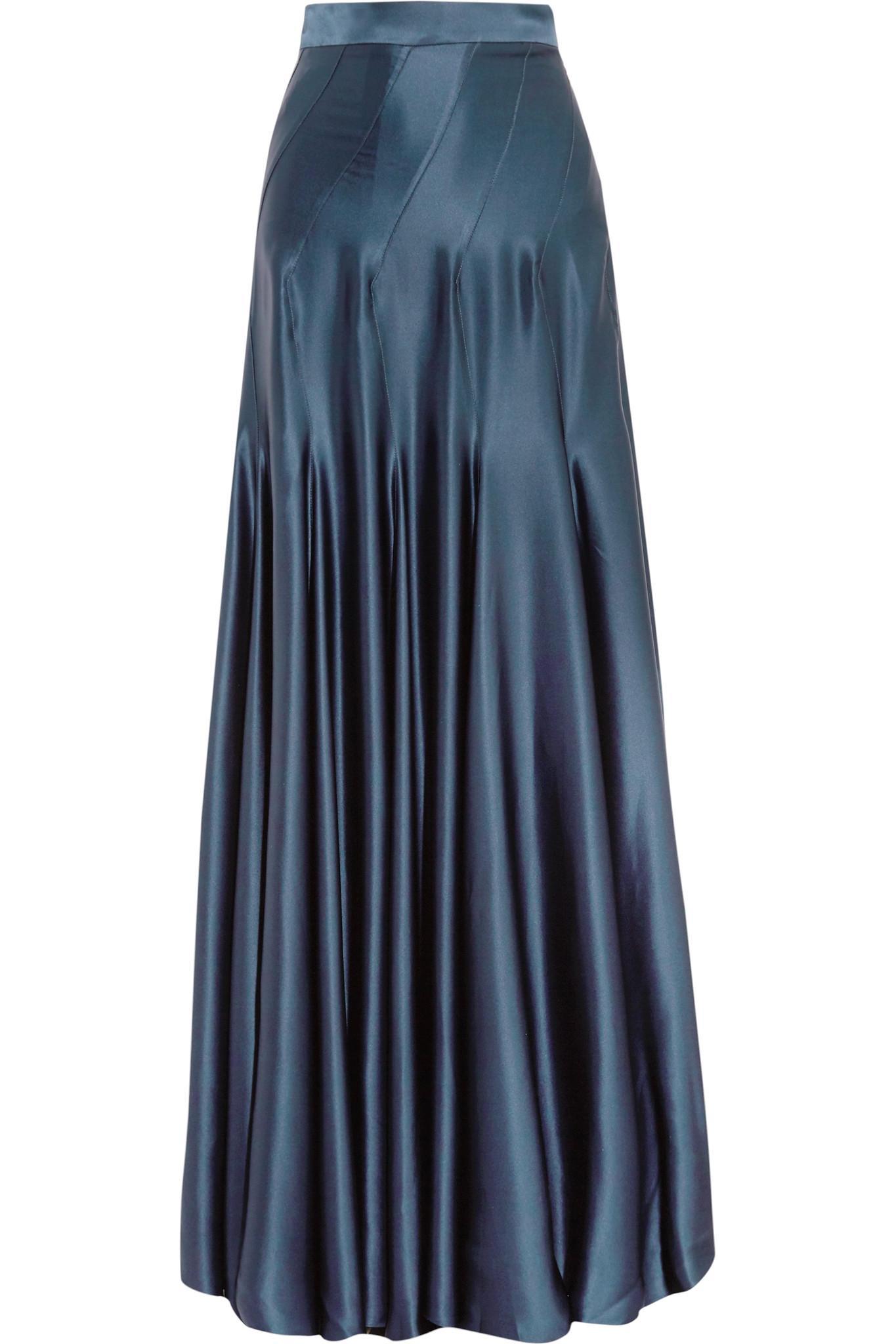 michael lo sordo colette silk satin maxi skirt in blue lyst