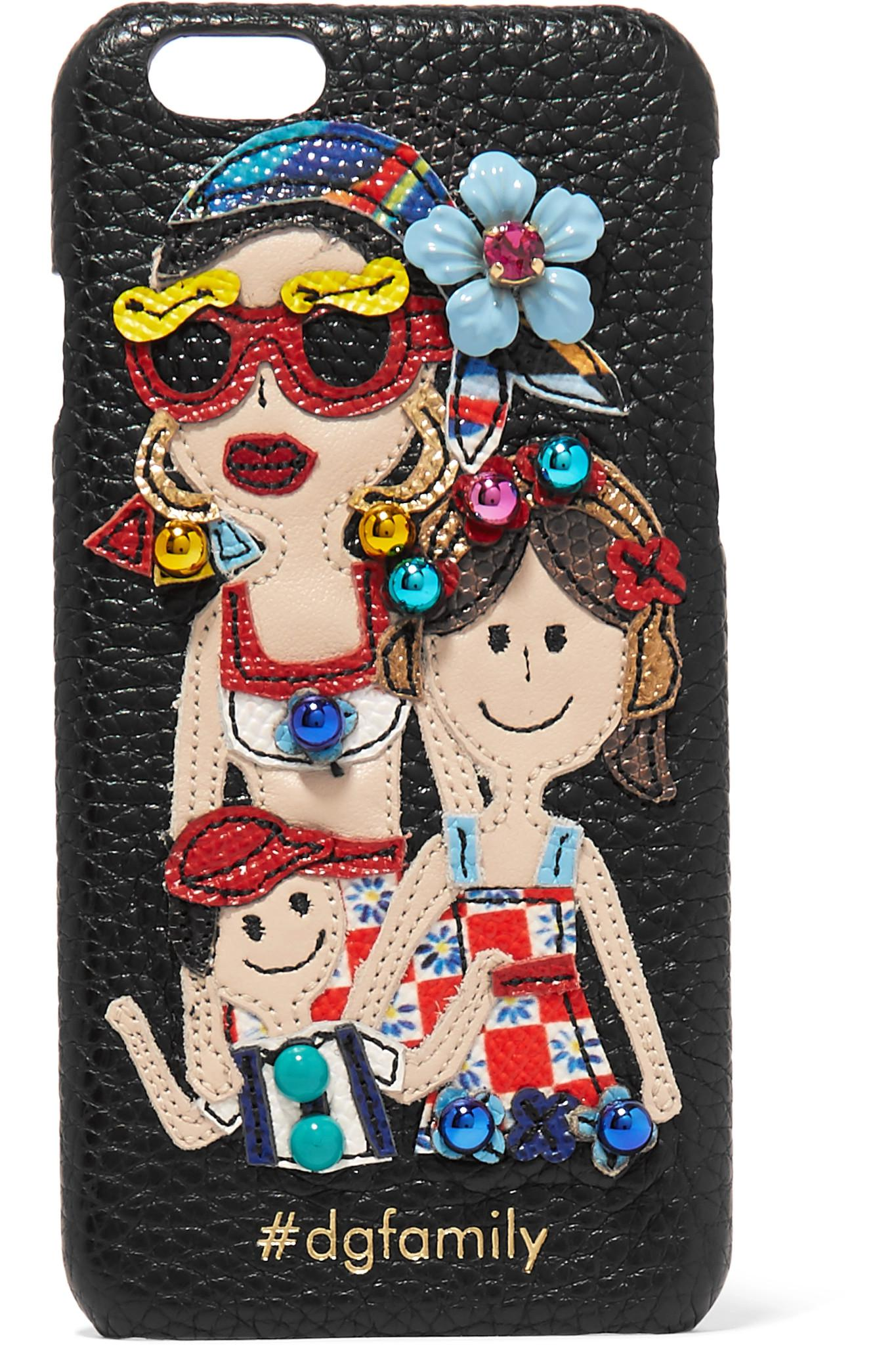Nice Vente En Ligne Choisir Un Meilleur Dolce & Gabbana Embelli Cuir Texturé Appliquéd Iphone 7 - Noir Vente Bas Prix lAtzuWq8rN