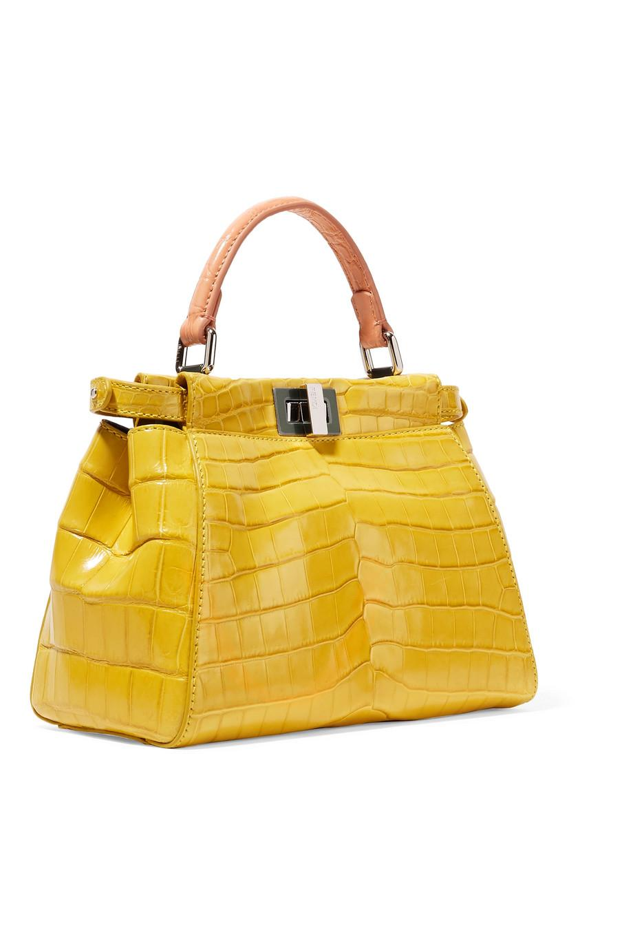 Lyst - Fendi Peekaboo Mini Crocodile Shoulder Bag in Yellow 09fcaa0a5dbec