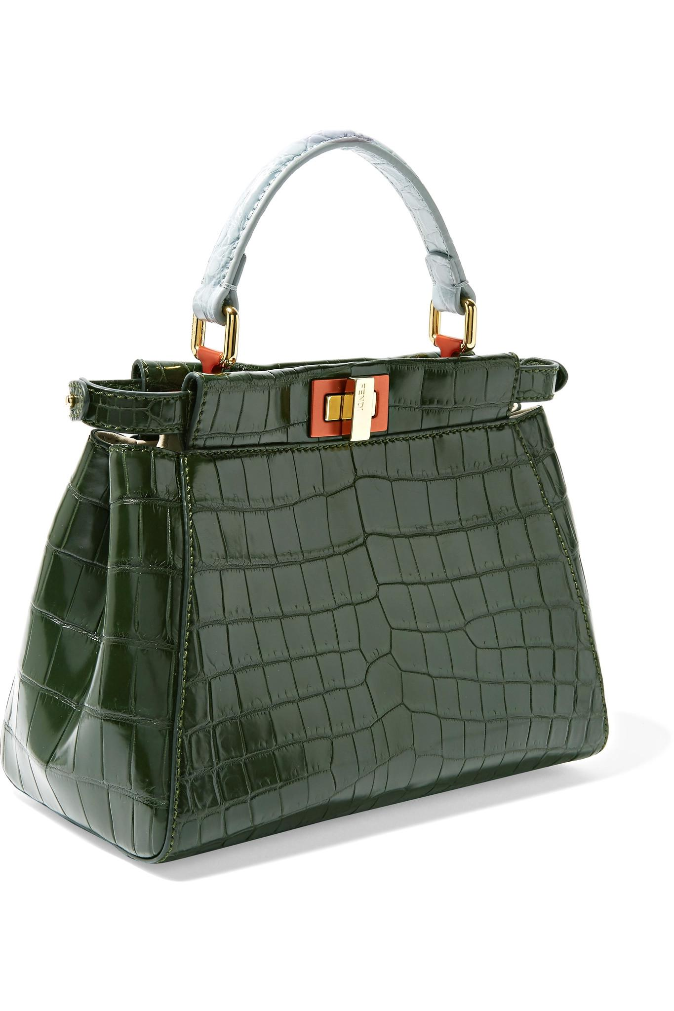 0992132a11e0 Fendi Peekaboo Mini Crocodile Shoulder Bag in Green - Lyst