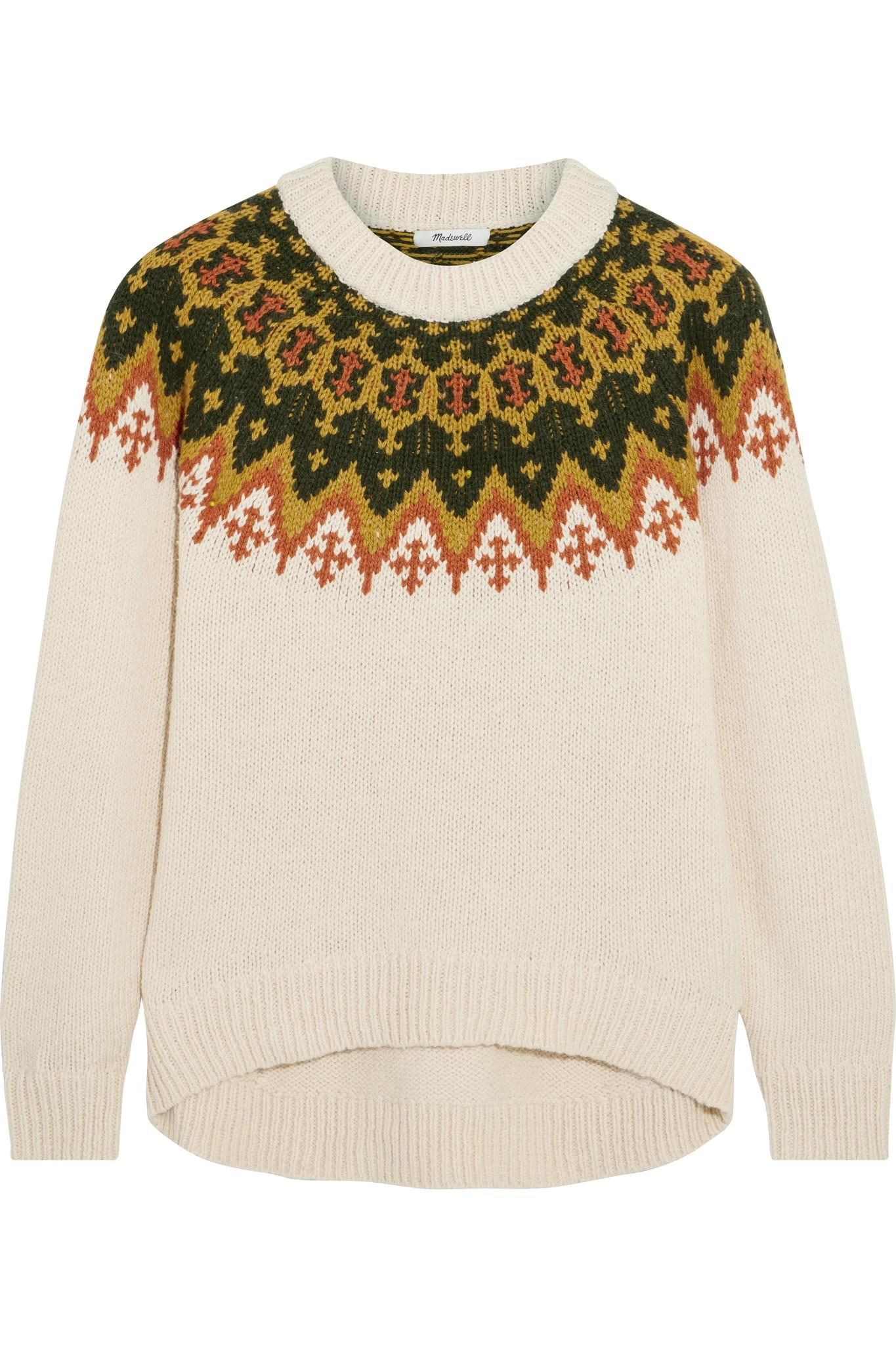 Madewell Fair Isle Cotton-blend Sweater in Natural | Lyst