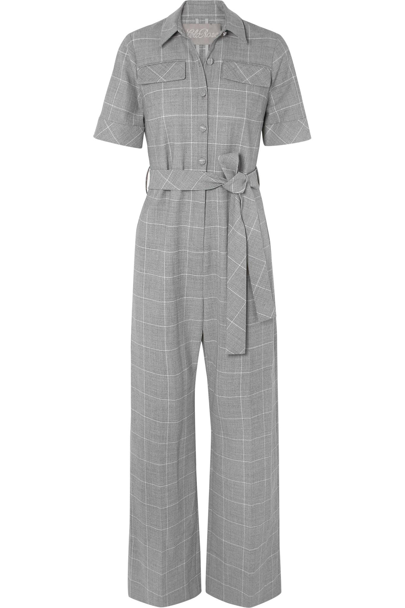 45f2443c734 Lela Rose Checked Cady Jumpsuit in Gray - Lyst