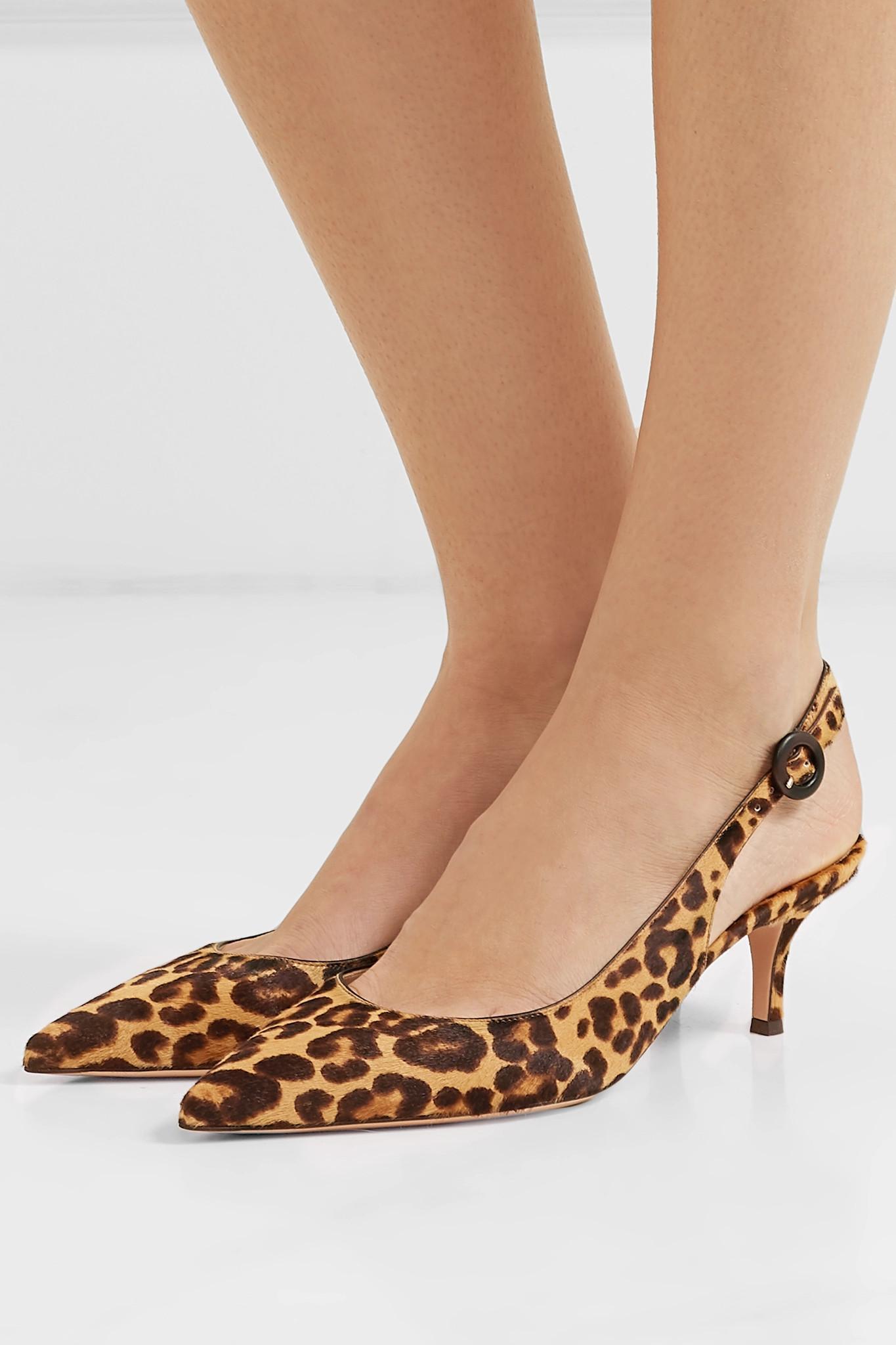 8a27041b6c1f Gianvito Rossi - Brown Anna Leopard-print Calf Hair Slingback Pumps - Lyst.  View fullscreen