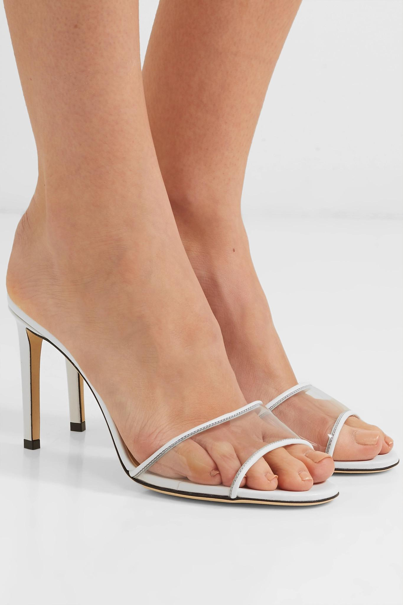 3ffa7e98a62 Jimmy Choo - White Stacey 85mm Leather And Pvc Mules - Lyst. View fullscreen