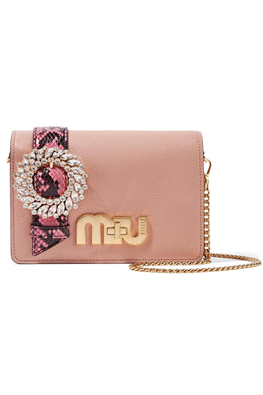 Miu Miu My Miu Small Matelasse Snake-Trim Clutch Bag HKupSQn