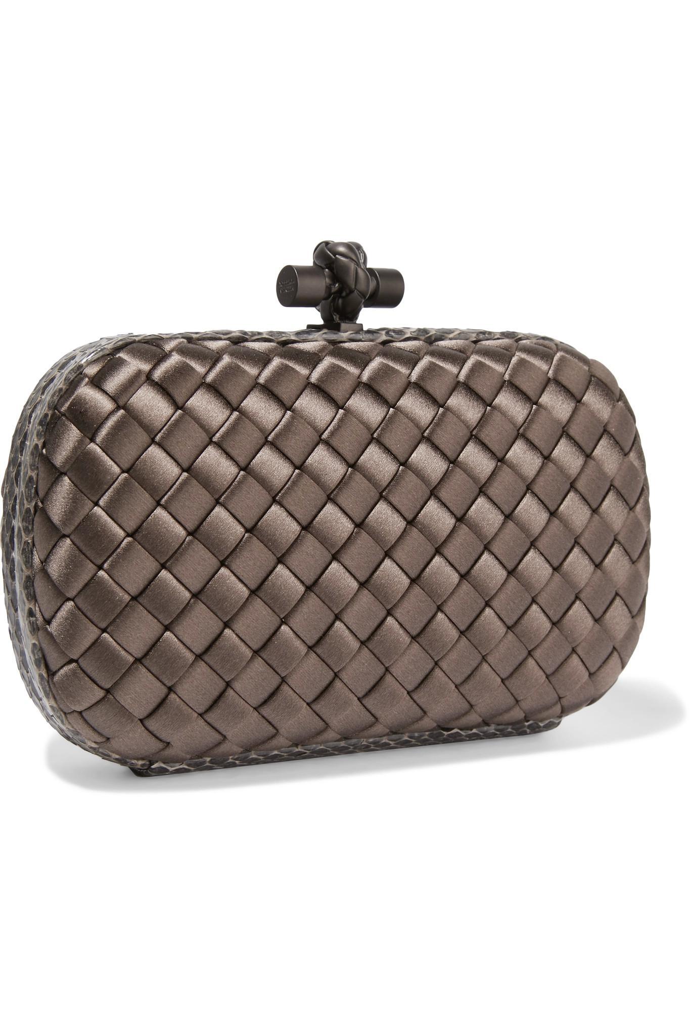 lyst bottega veneta the knot watersnake trimmed intrecciato satin clutch. Black Bedroom Furniture Sets. Home Design Ideas