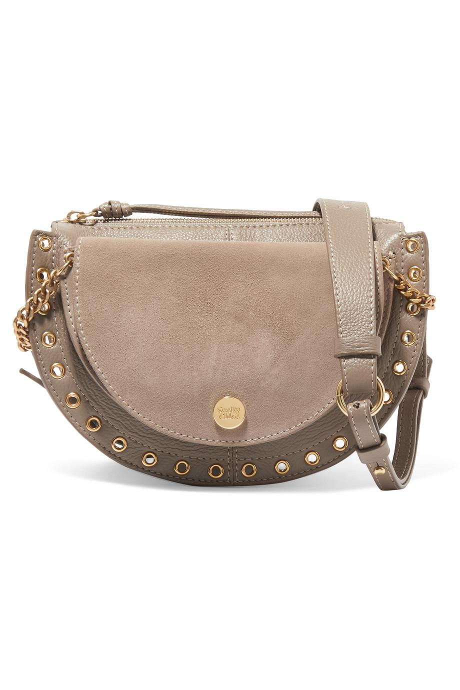 Kriss Mini Eyelet-embellished Textured-leather And Suede Shoulder Bag - Charcoal See By Chlo gXOctGw