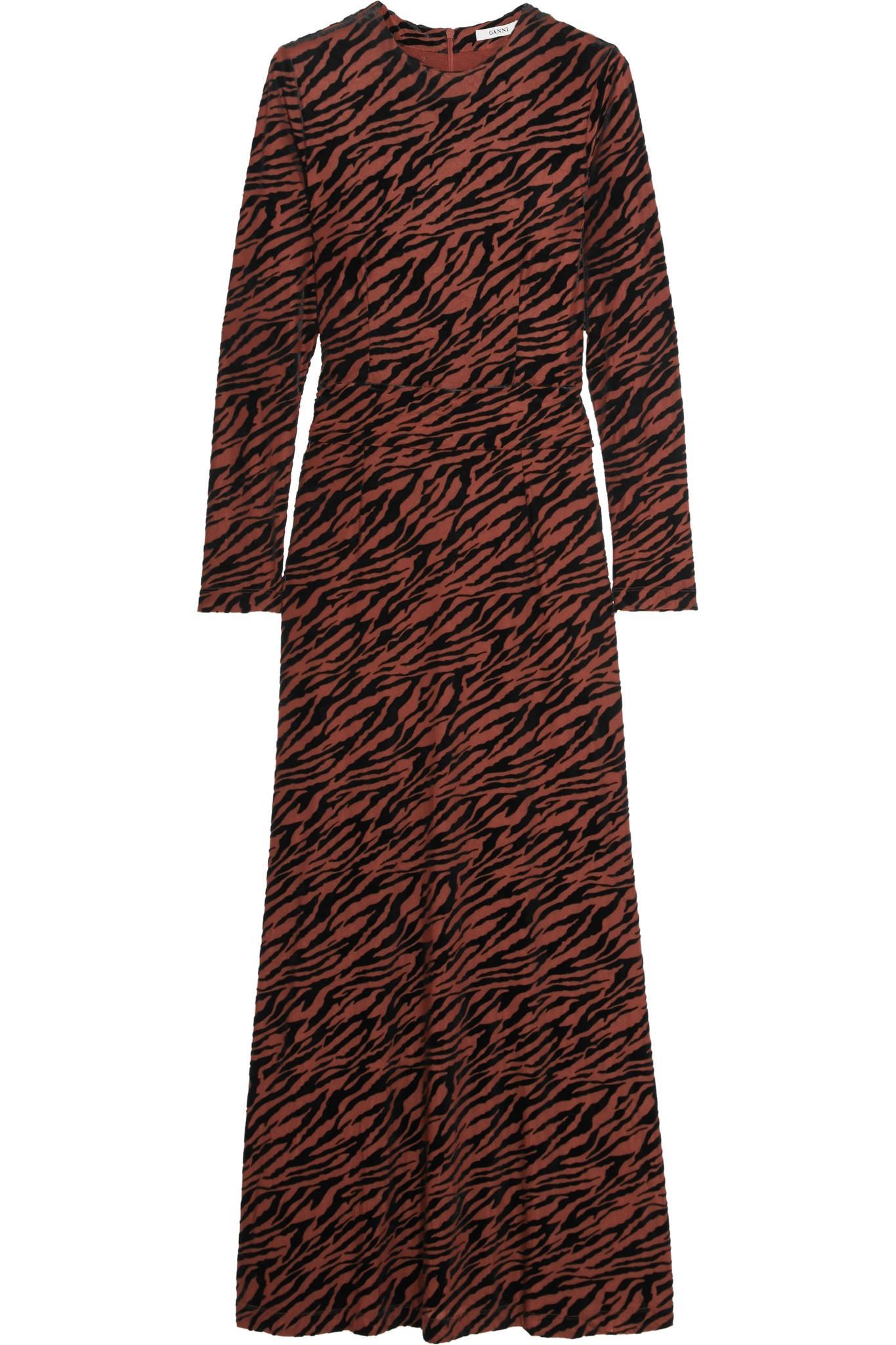 1f0ab8bd Ganni Adrian Flocked Stretch-tulle Maxi Dress in Brown - Lyst