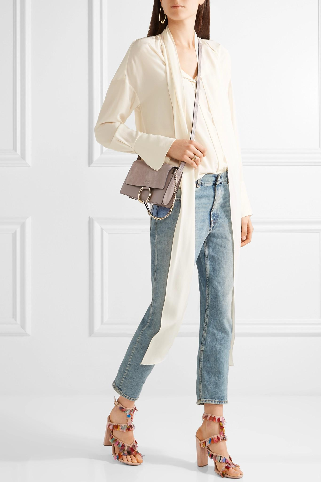 Lyst - Chloé Faye Small Leather And Suede Shoulder Bag in Gray 70208f206