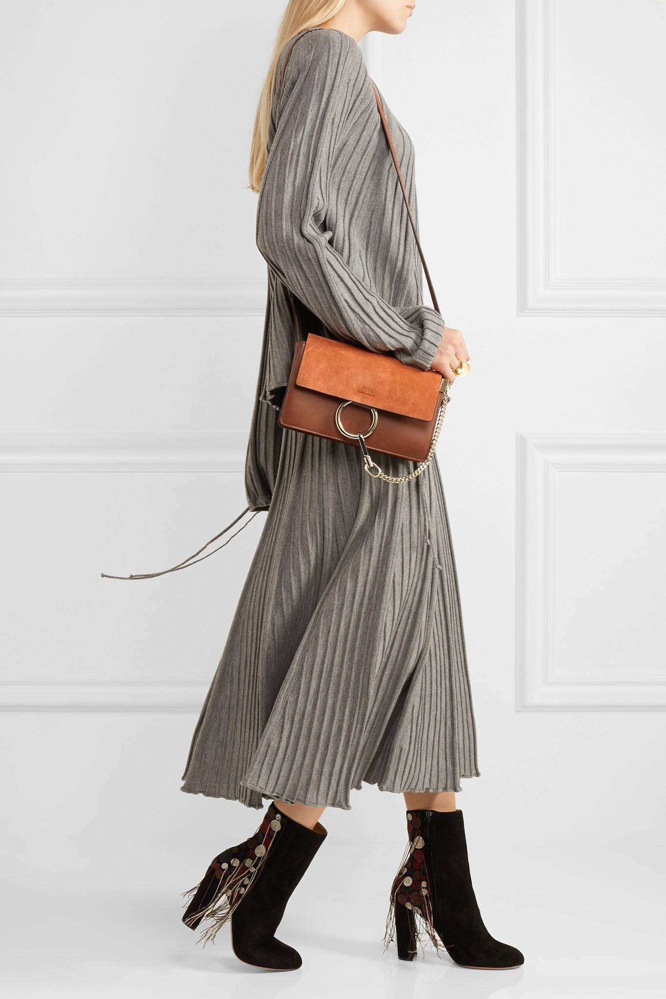 Lyst Chlo 233 Faye Small Leather And Suede Shoulder Bag In