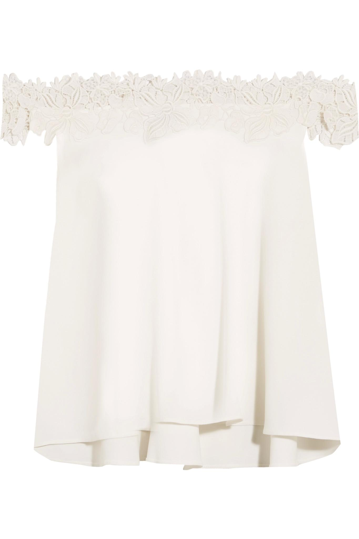 Rime arodaky Carla Off-the-shoulder Lace-trimmed Crepe Top ...