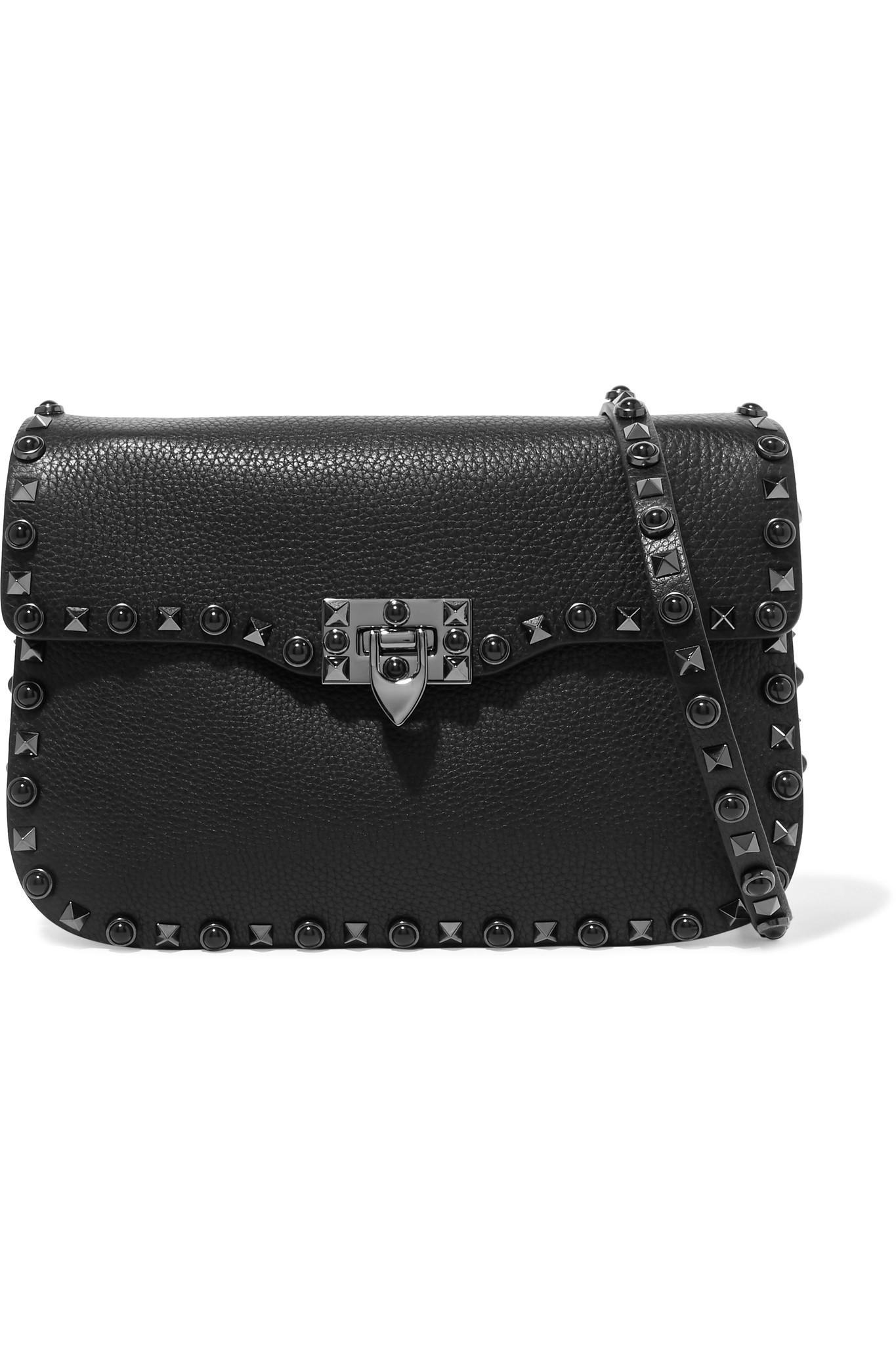 c4bf4f777e Valentino. Women s Black Garavani The Rockstud Rolling Textured-leather  Shoulder Bag