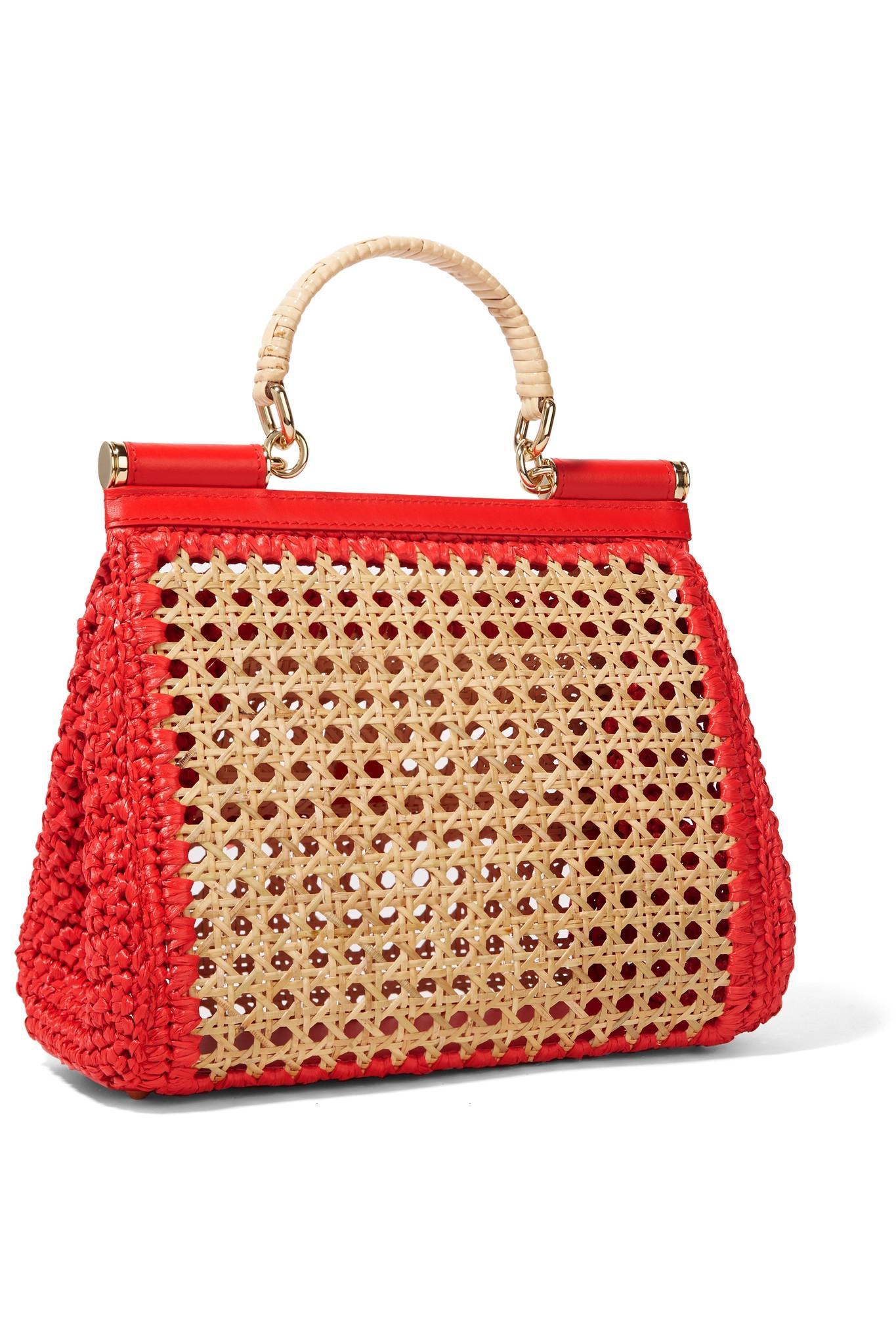 Dolce   Gabbana - Natural Sicily Medium Leather-trimmed Raffia Tote - Lyst.  View fullscreen cc9d41dbe3b16