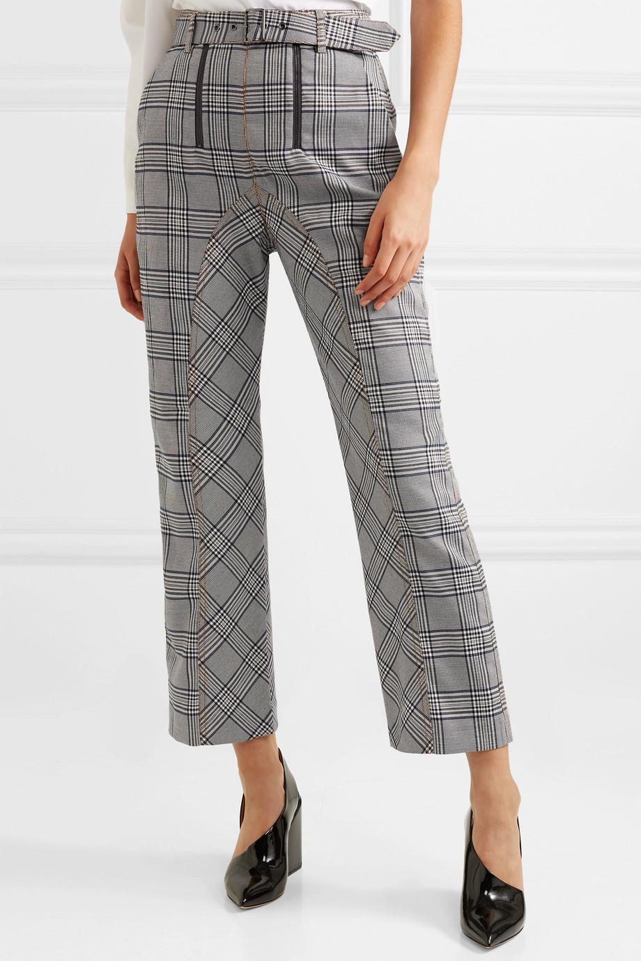 Cropped Checked Tweed Straight-leg Pants - Gray Self Portrait VoDW7