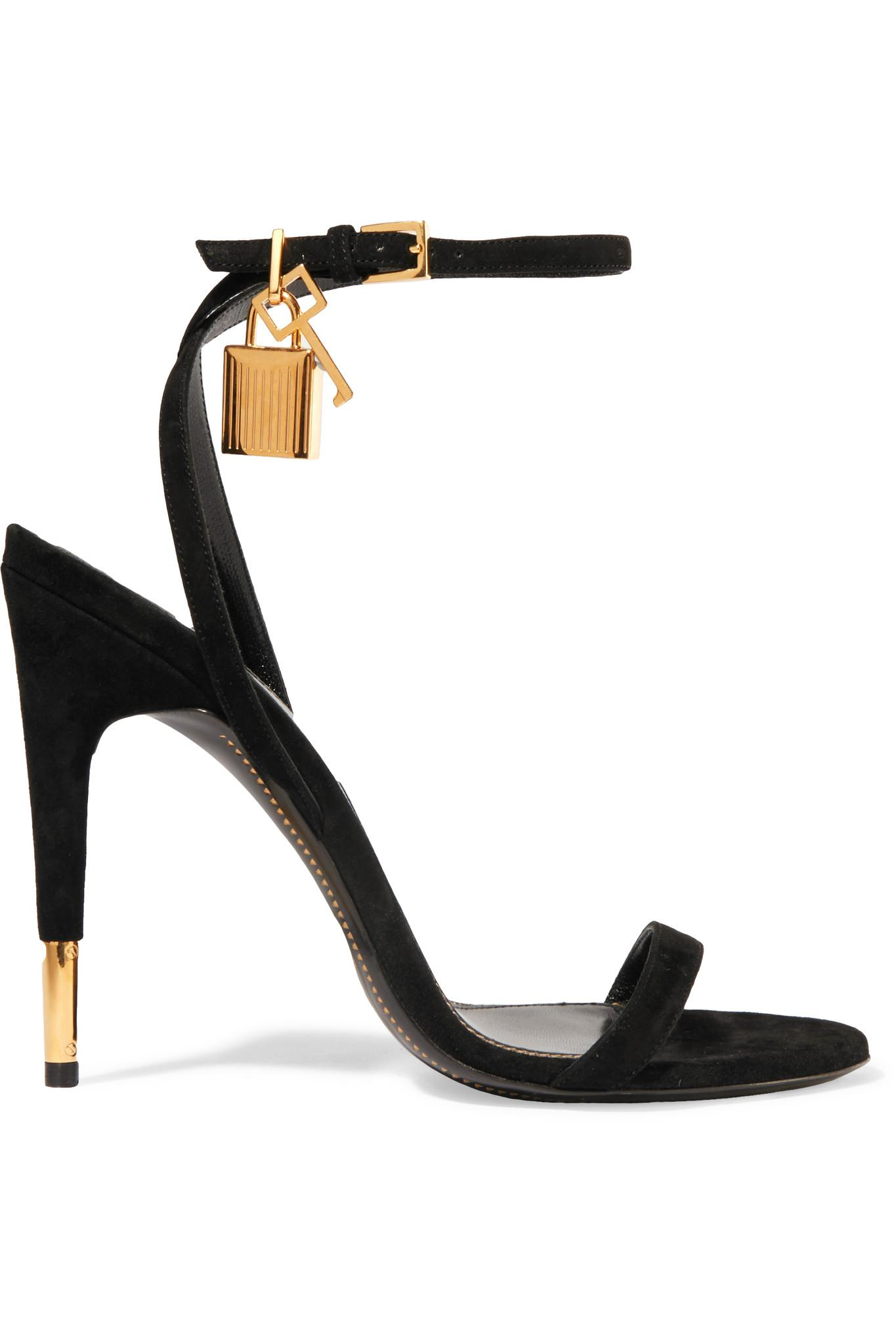 89d78ed26aa Lyst - Tom Ford Suede Padlock Sandals in Black
