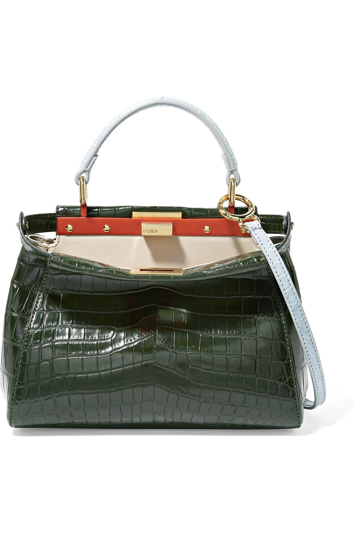 40b7528c76a0 Lyst - Fendi Peekaboo Mini Crocodile Shoulder Bag in Green