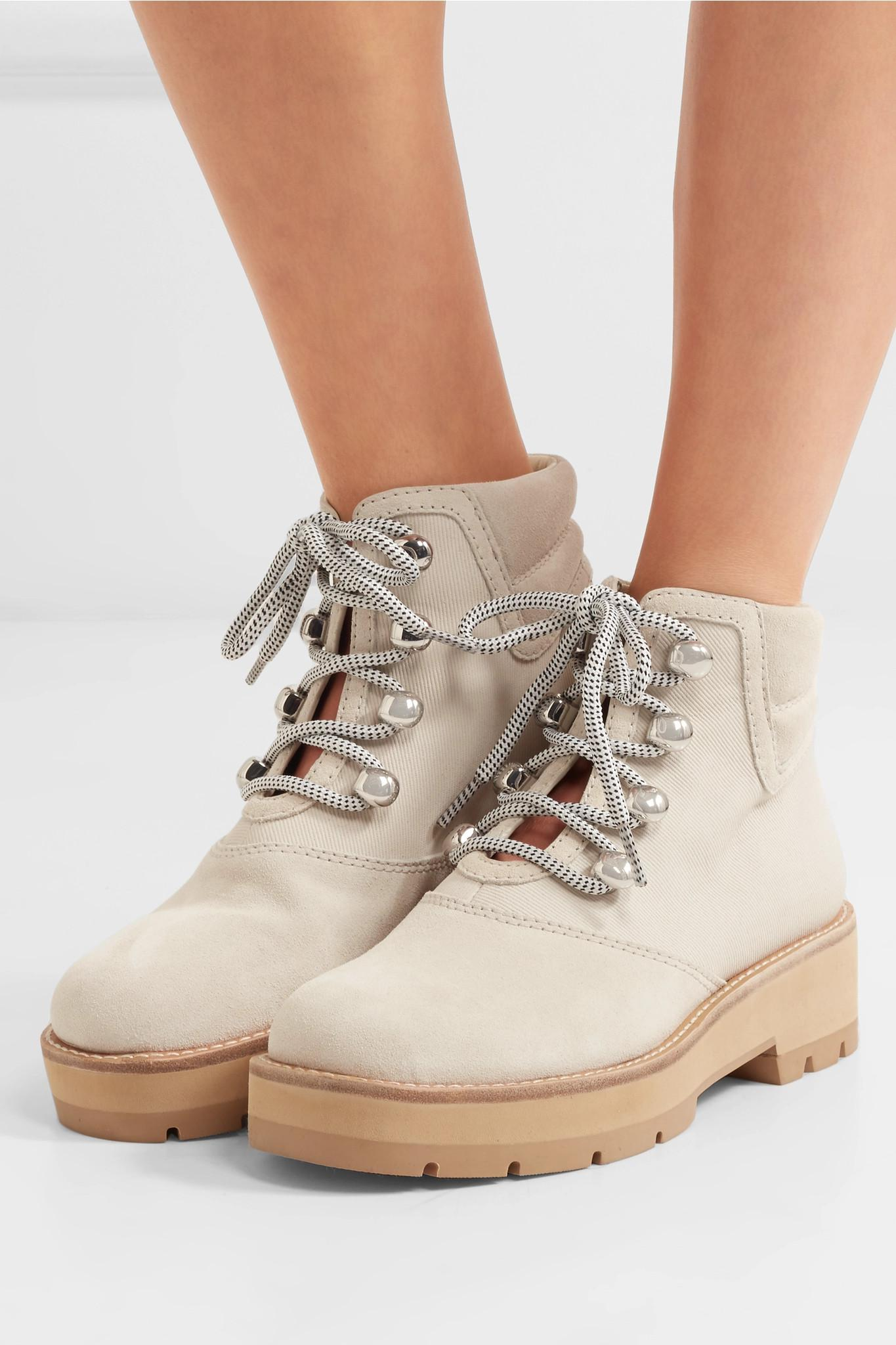 f3076a2312ba0 3.1 Phillip Lim - White Dylan Suede And Coated Cotton-twill Ankle Boots -  Lyst. View fullscreen