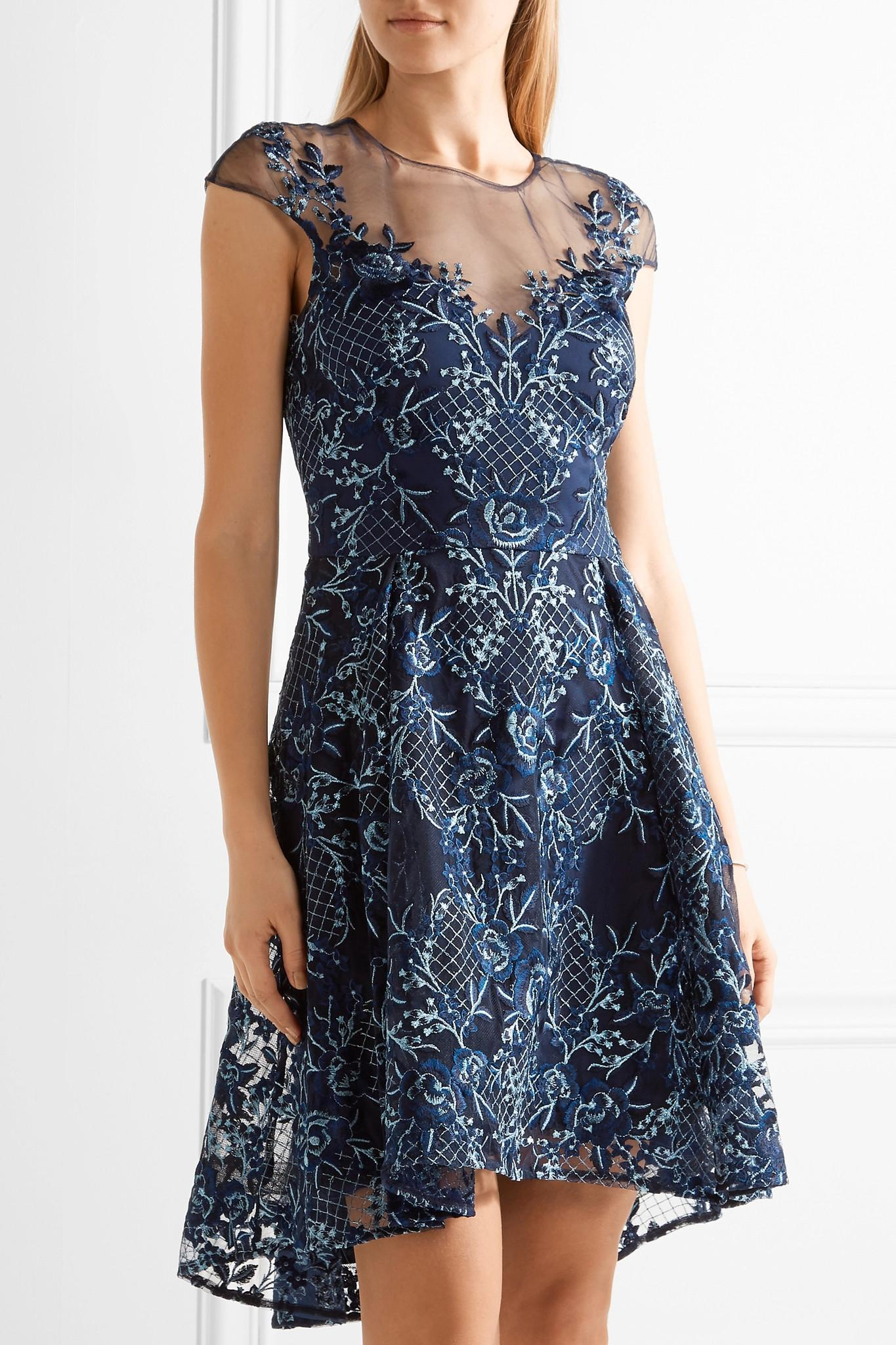 Notte By Marchesa Asymmetric Embroidered Tulle Mini Dress