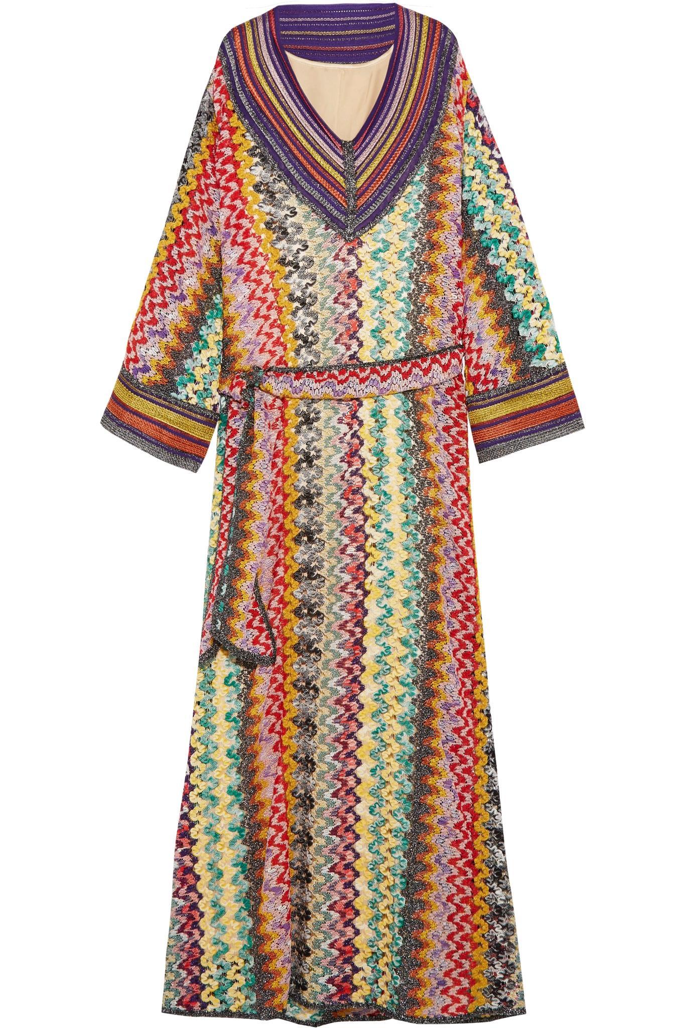 Lyst Missoni Belted Metallic Crochet Knit Maxi Dress In