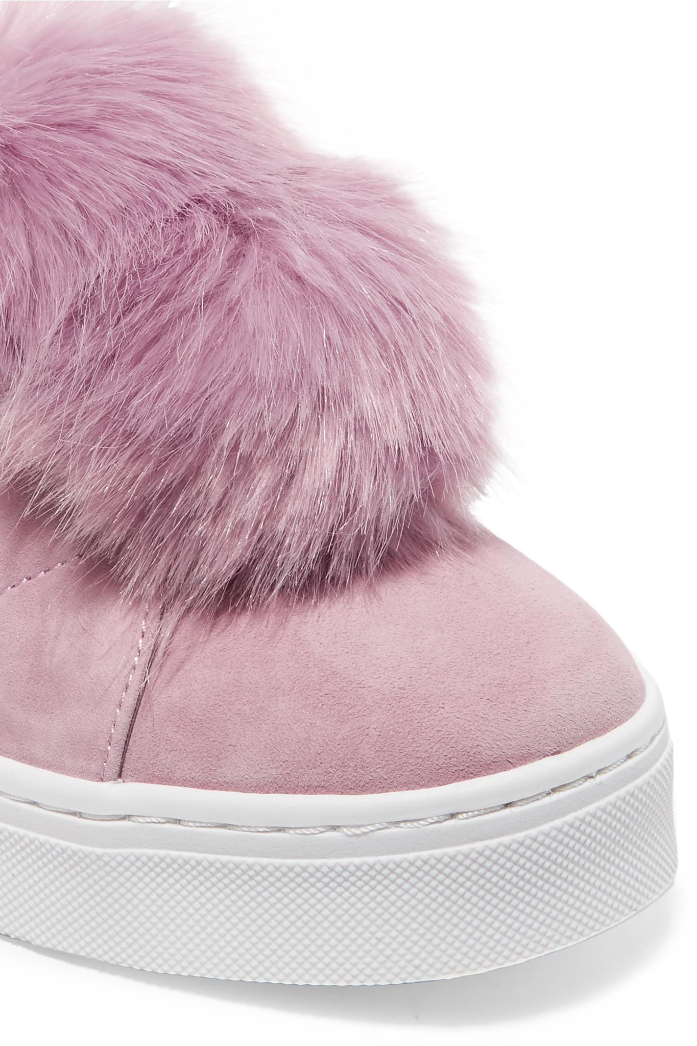 86ba4363daf791 Lyst - Sam Edelman Leya Faux Fur-embellished Suede Slip-on Sneakers