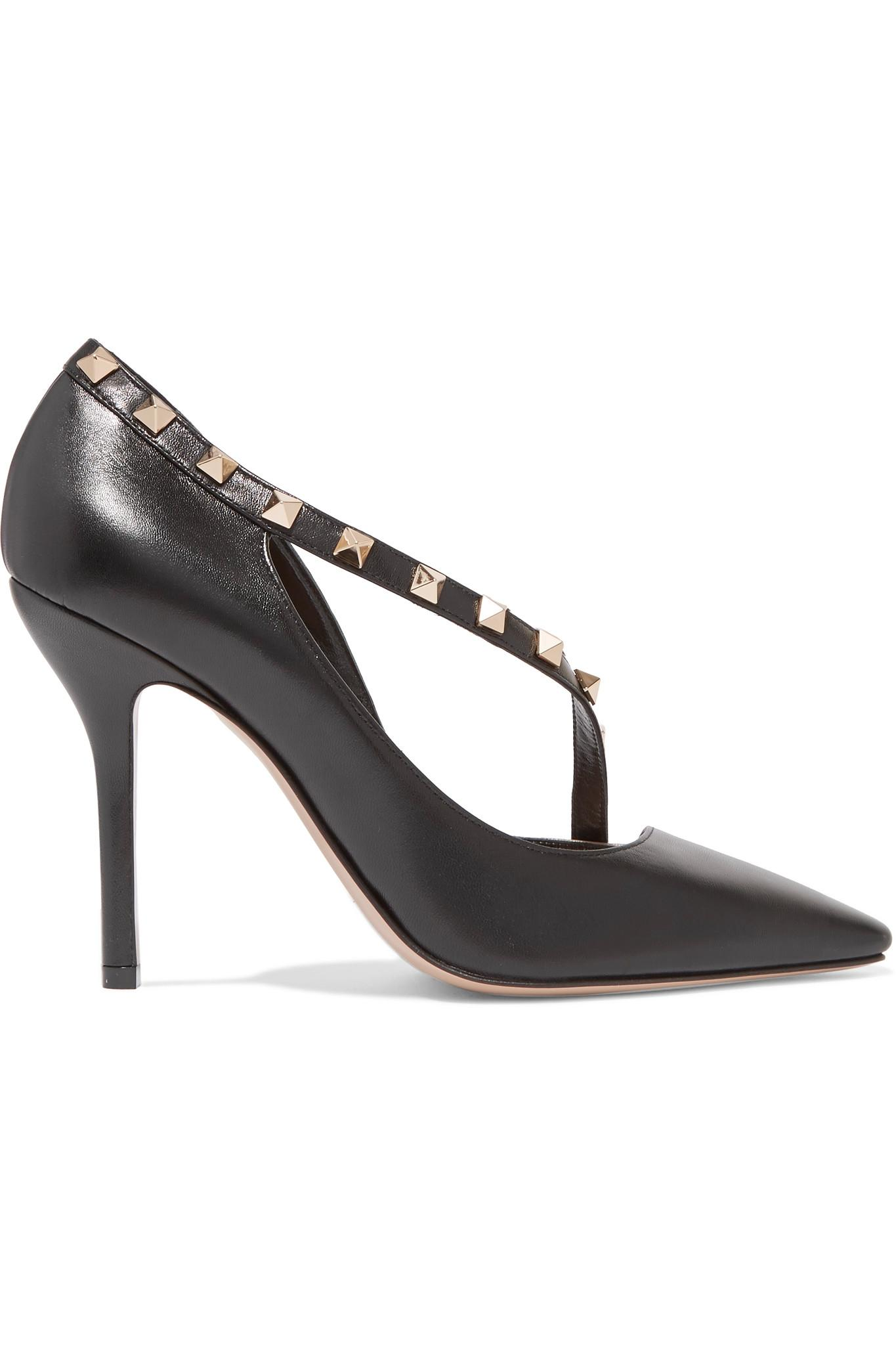 valentino rockstud two tone leather court shoes in black