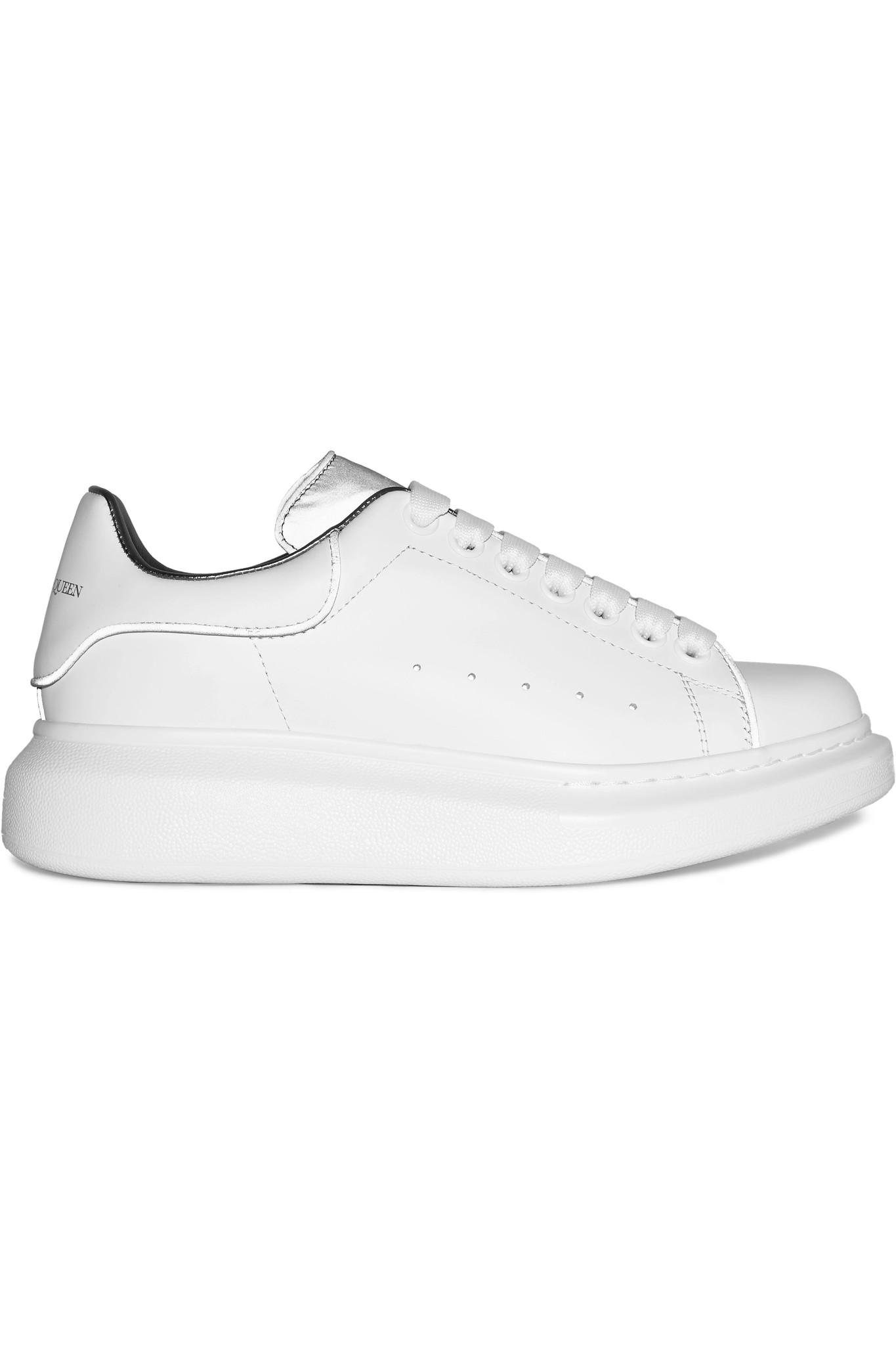 407fd3c4871e4 Lyst - Alexander McQueen Reflective-trimmed Leather Exaggerated-sole ...