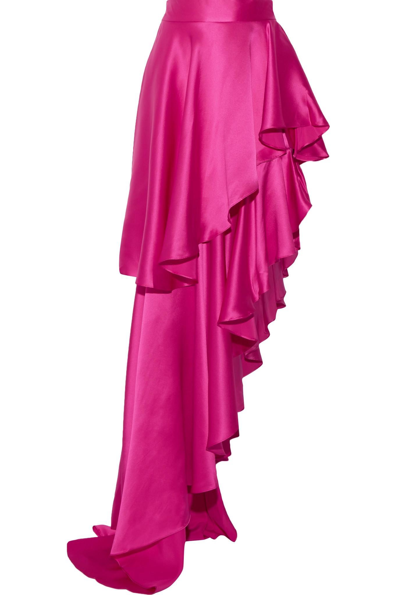 Michael Lo Sordo Asymmetric Ruffled Silk Satin Maxi Skirt