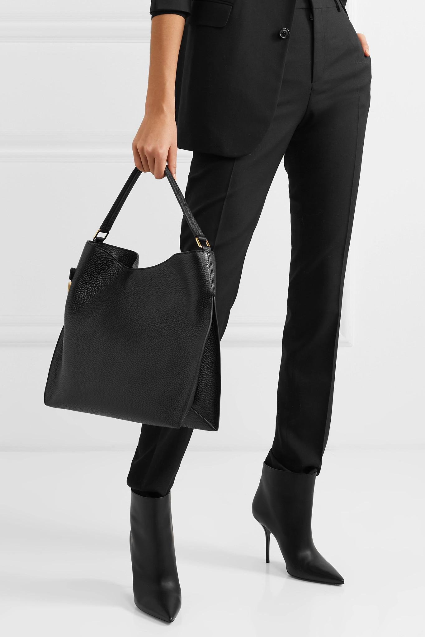 3983bfffc1dc Tom Ford - Black Alix Medium Textured-leather Tote - Lyst. View fullscreen
