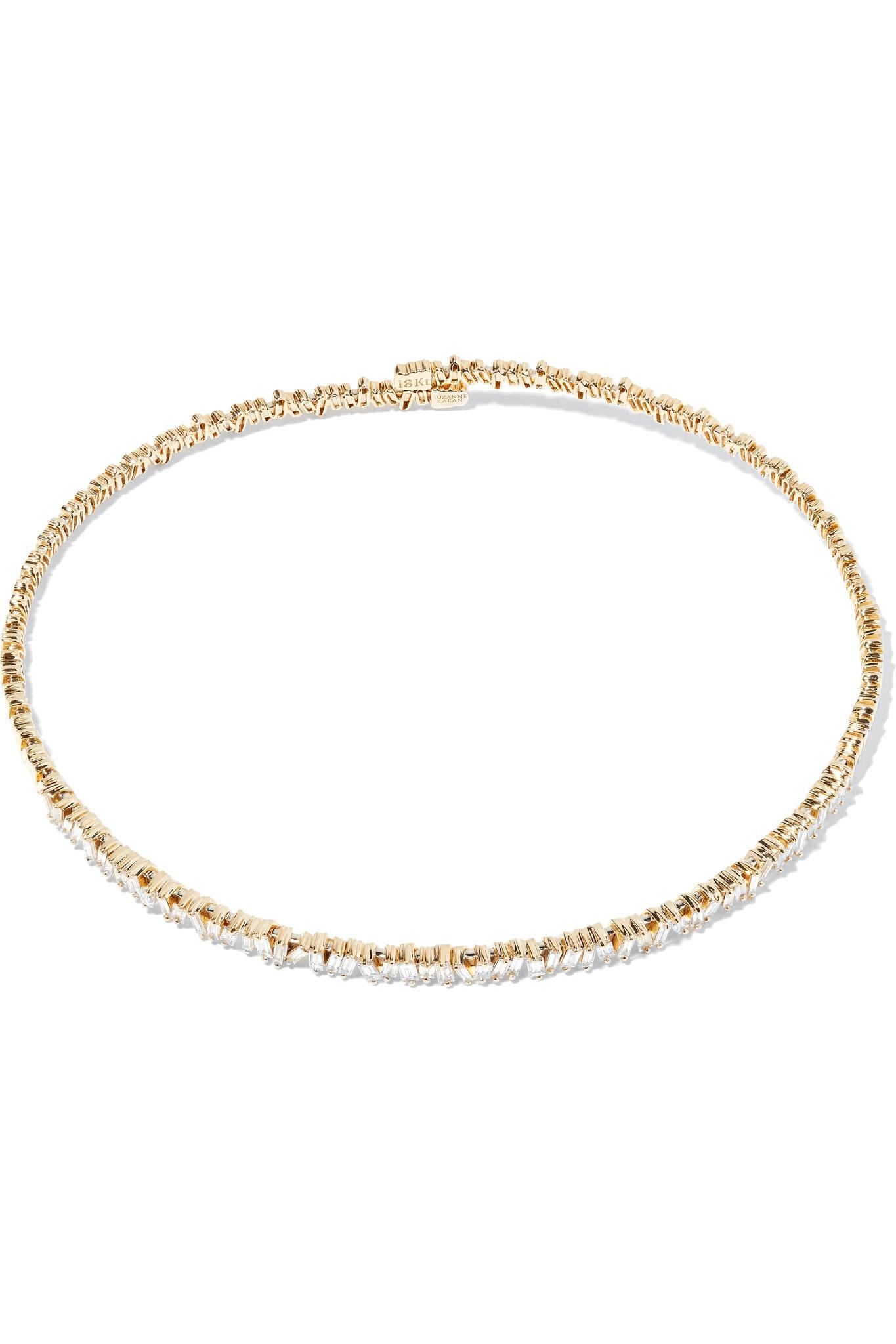 Suzanne Kalan Dangle 18-karat Rose Gold Diamond Choker Godf8B