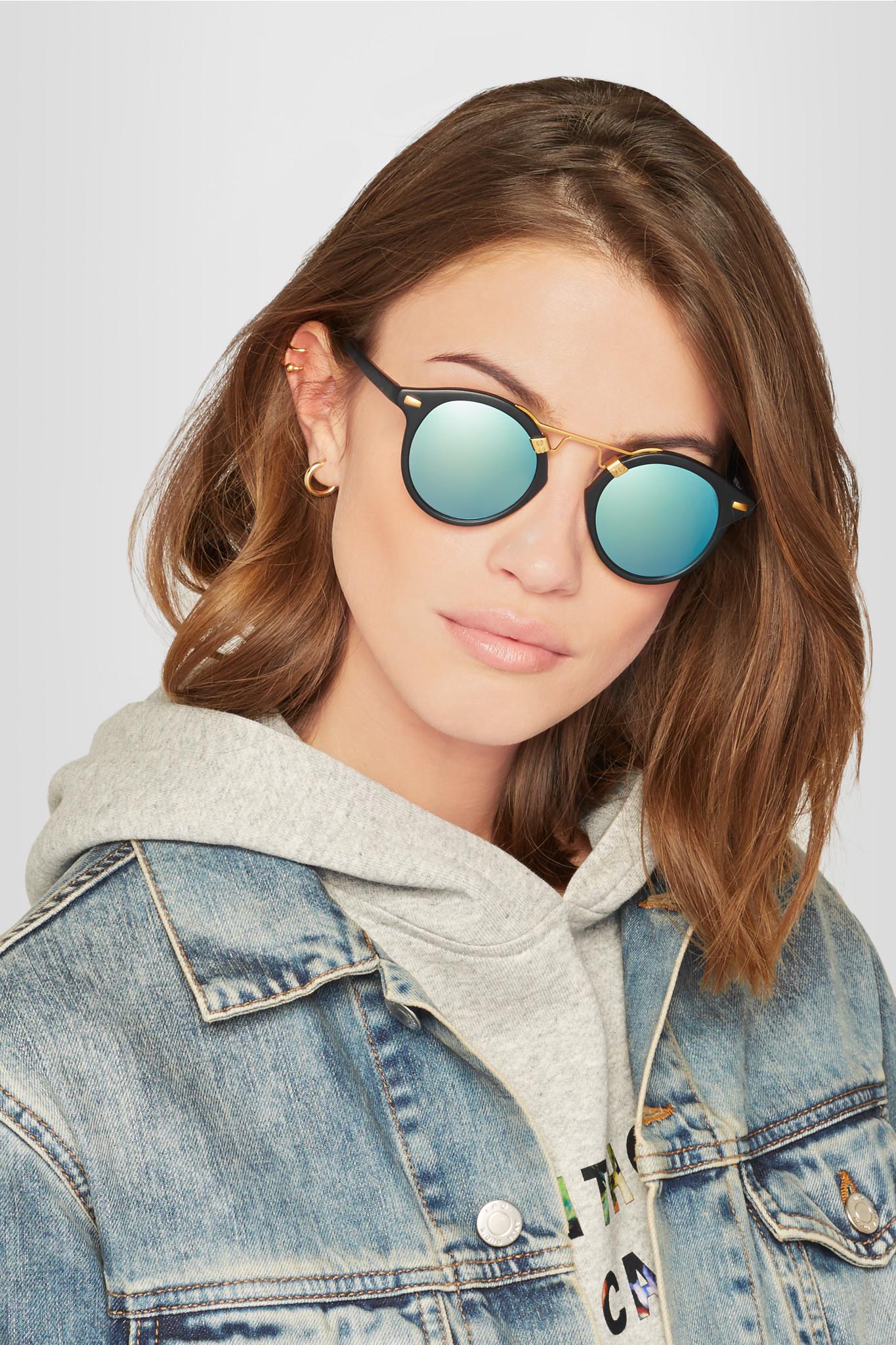 261fd28625f Lyst - Krewe St. Louis Round Mirrored Sunglasses in Black