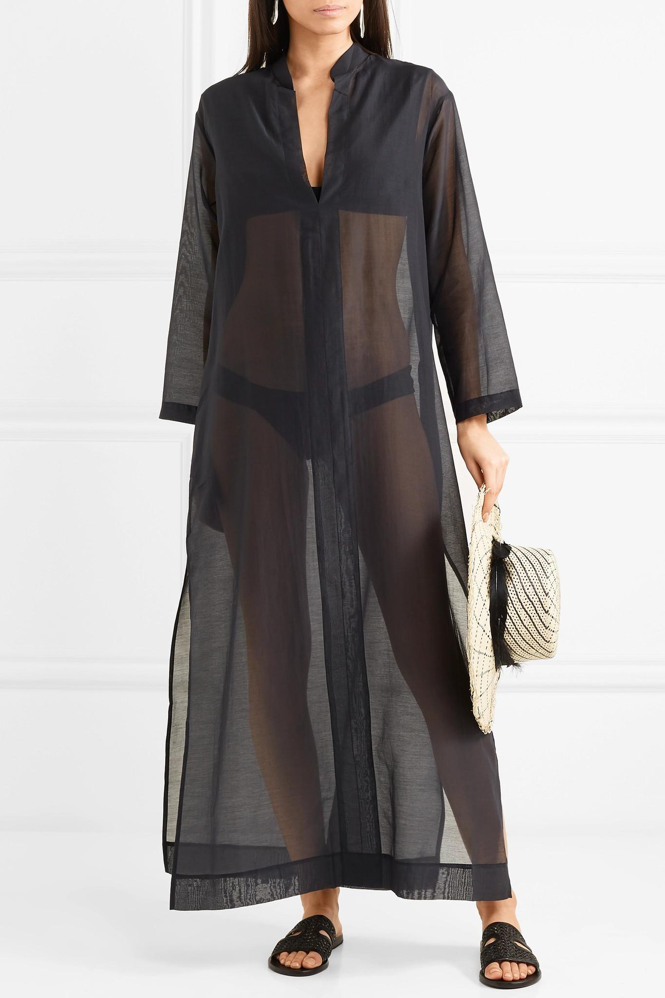 Gandu Cotton And Silk-blend Voile Kaftan - Black SU PARIS t1Pml