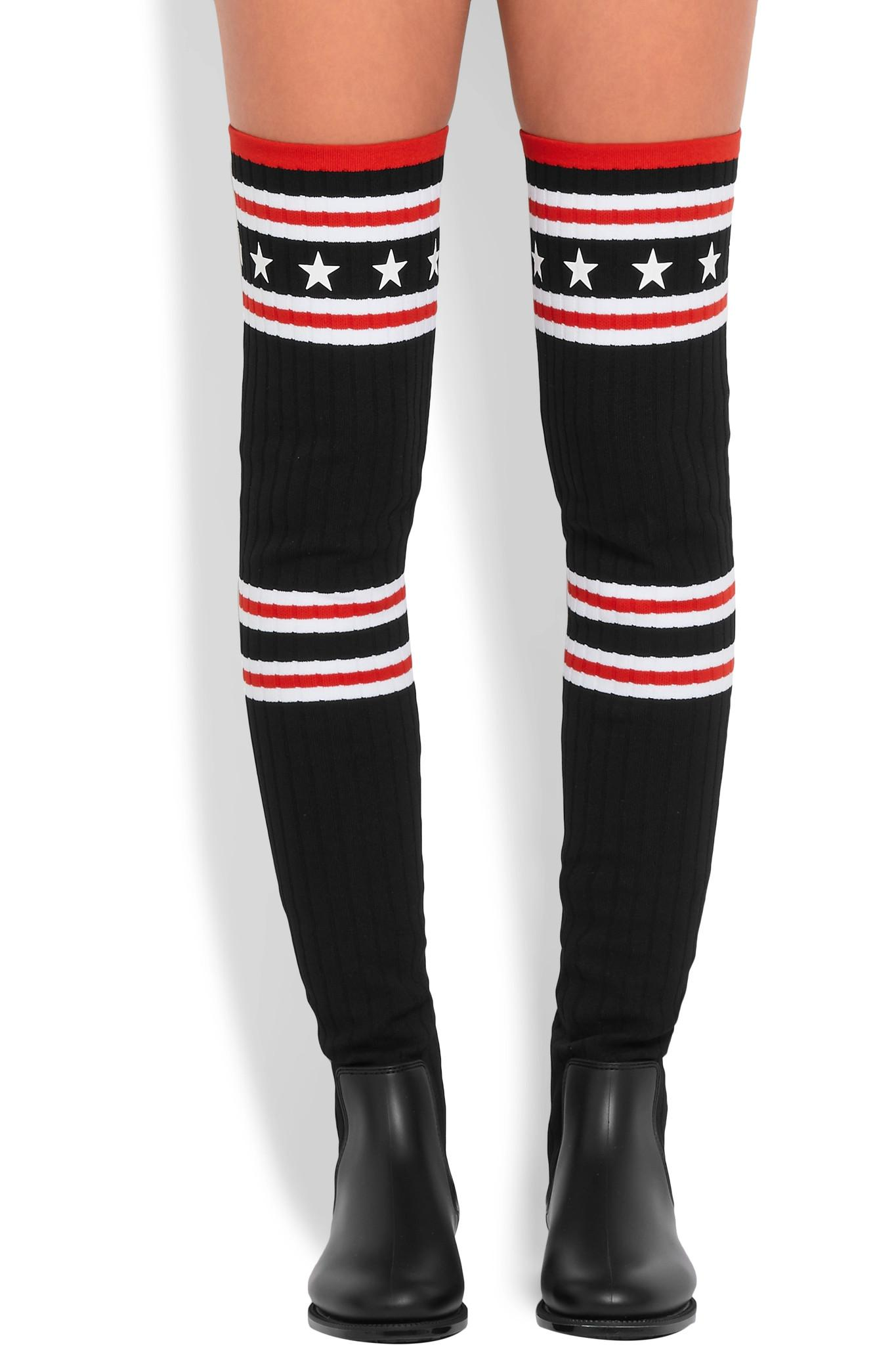 2a54cd5cba0a Lyst - Givenchy Storm Rubber And Ribbed-knit Thigh Boots in Black
