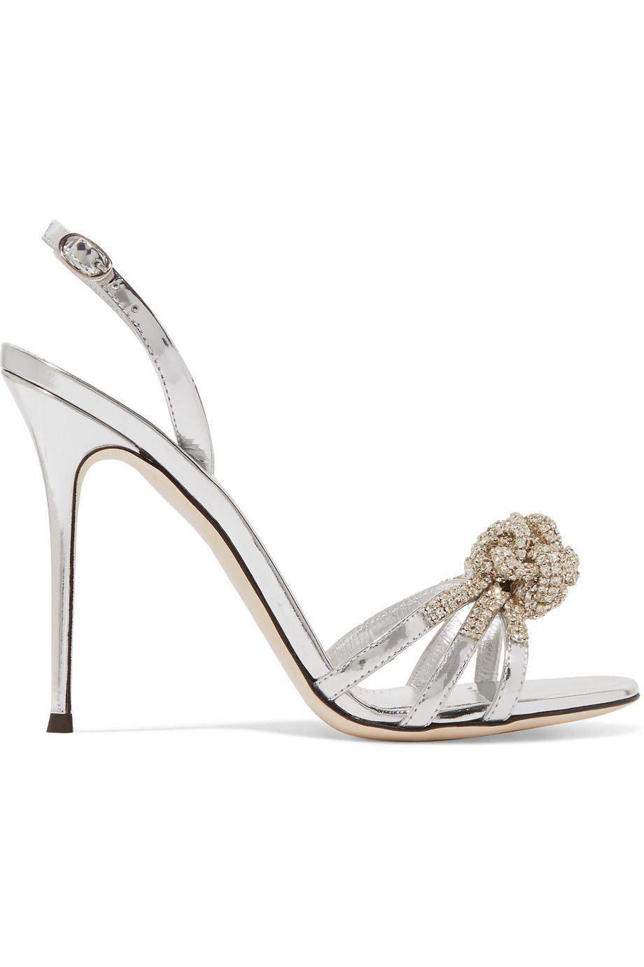 Mistico Crystal-embellished Metallic Leather Sandals - Silver Giuseppe Zanotti