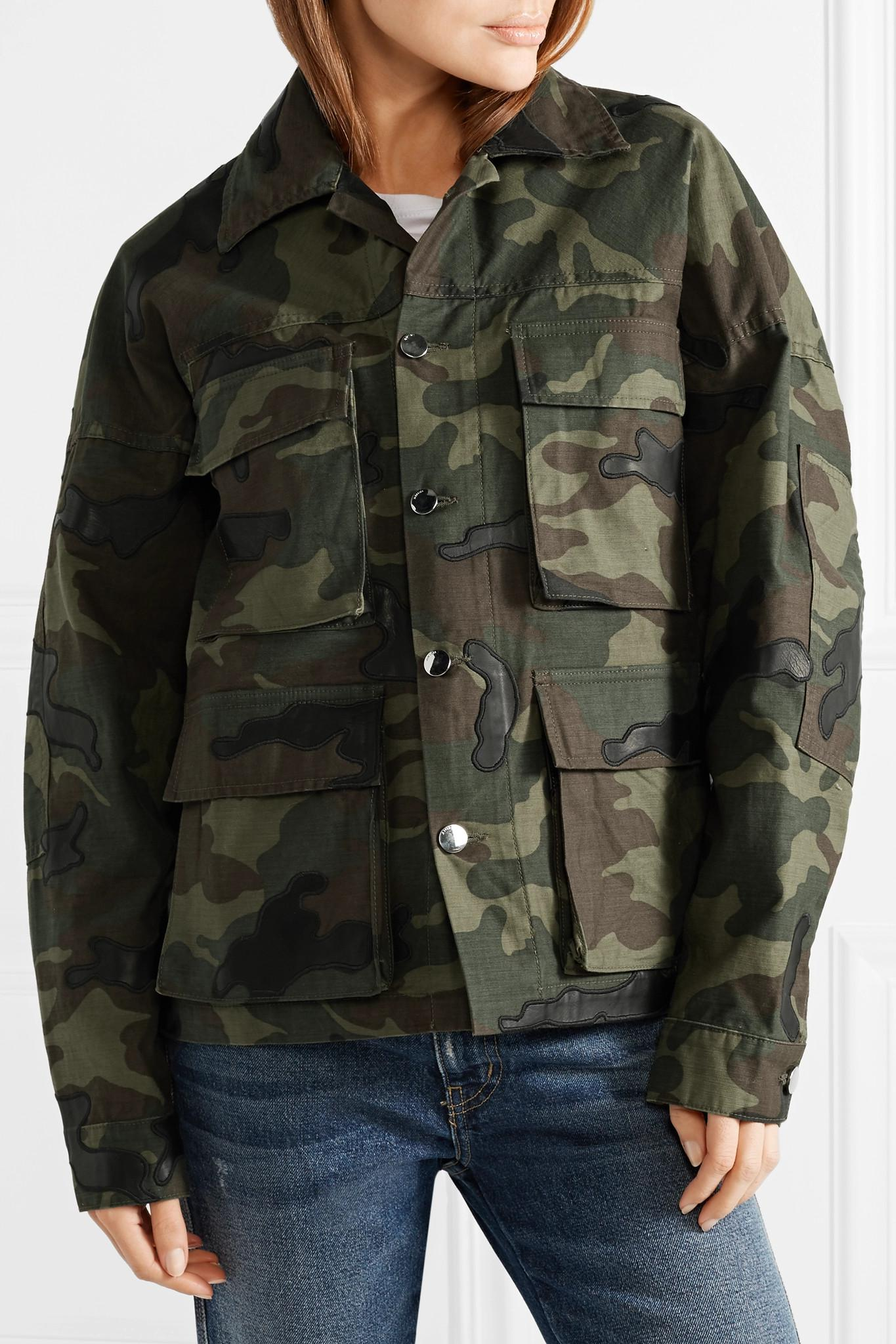 c17b7a039828e Amiri Leather-appliqued Camouflage-print Cotton-canvas Jacket in ...