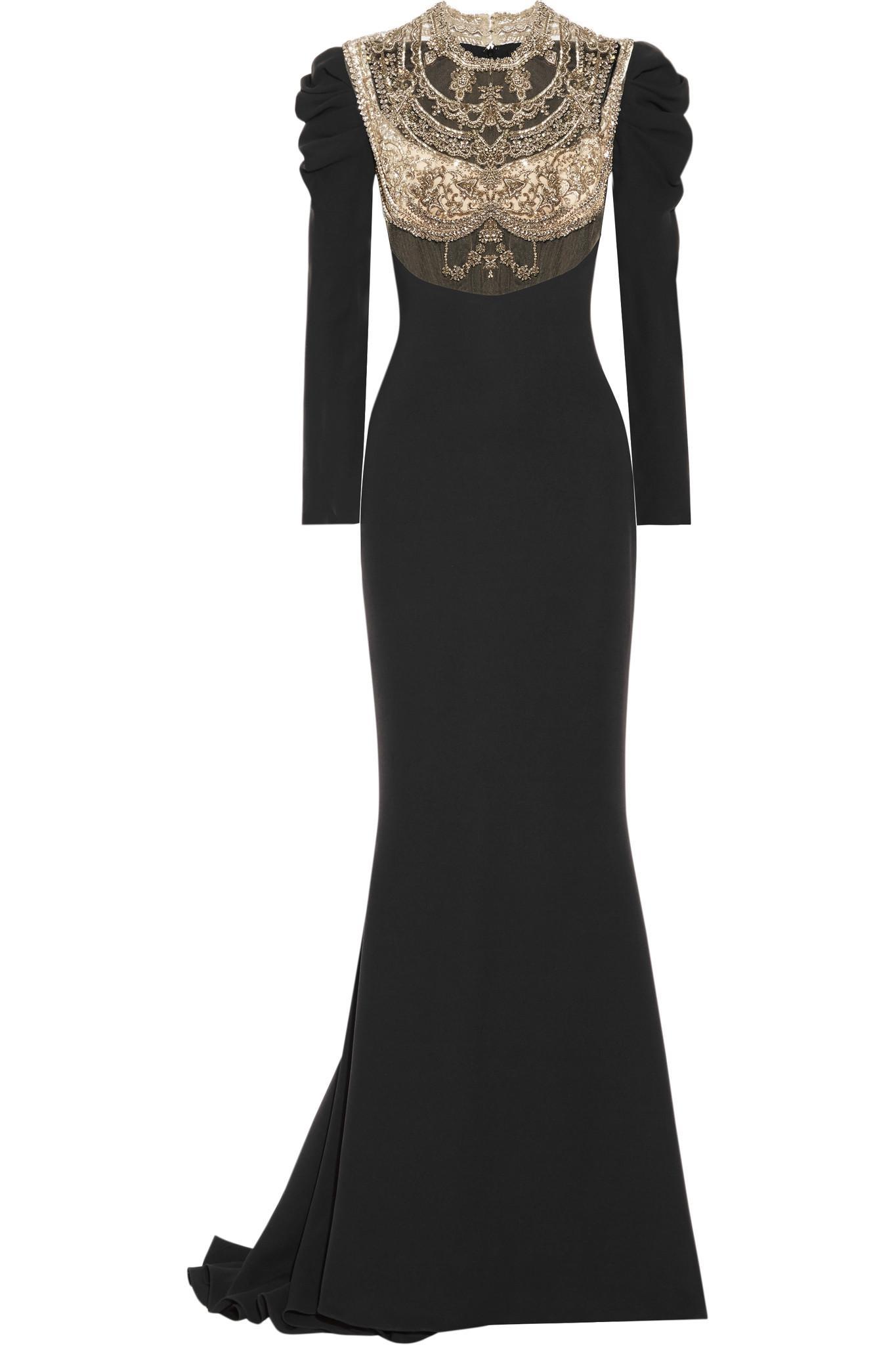 Embellished Tulle-paneled Silk Crepe De Chine Gown - Black Reem Acra HW91Q